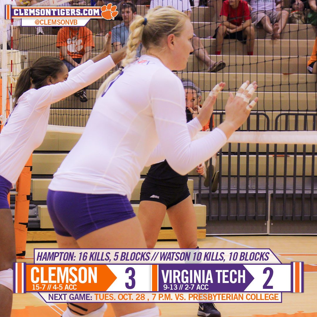 Tigers Top Hokies in Close Five-Setter