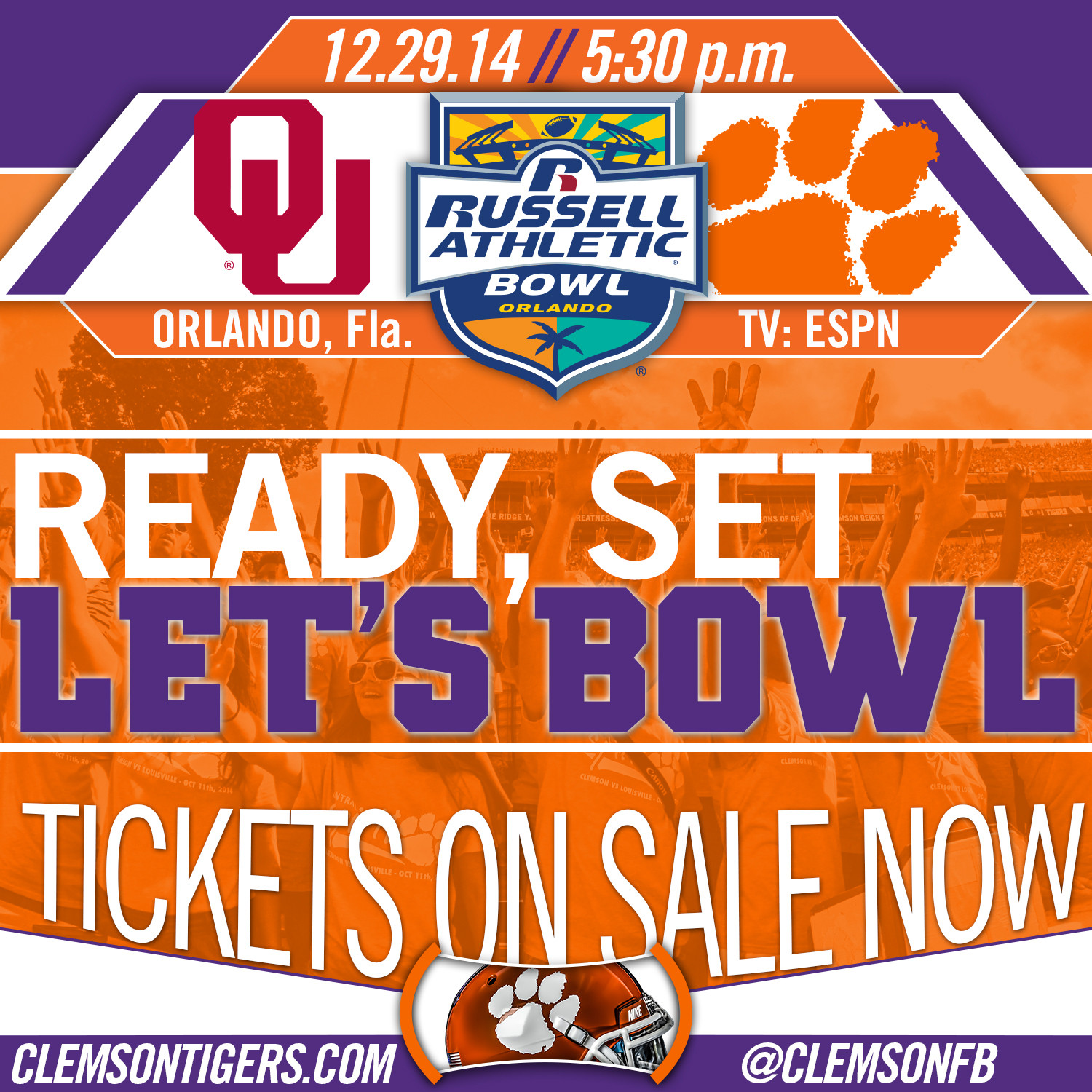 Tigers to Play Oklahoma in Russell Athletic Bowl