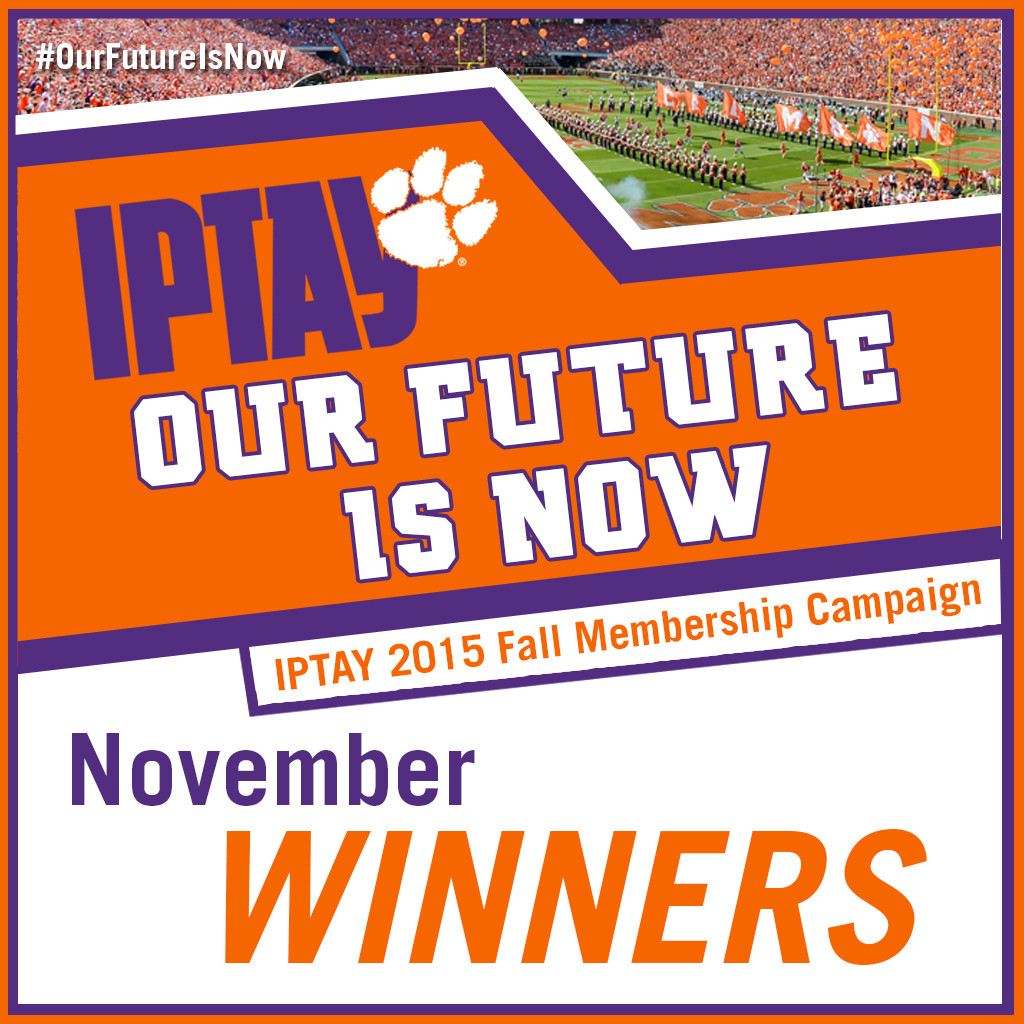 """November Winners Announced for IPTAY 2015 Fall Campaign """"Our Future is Now"""""""