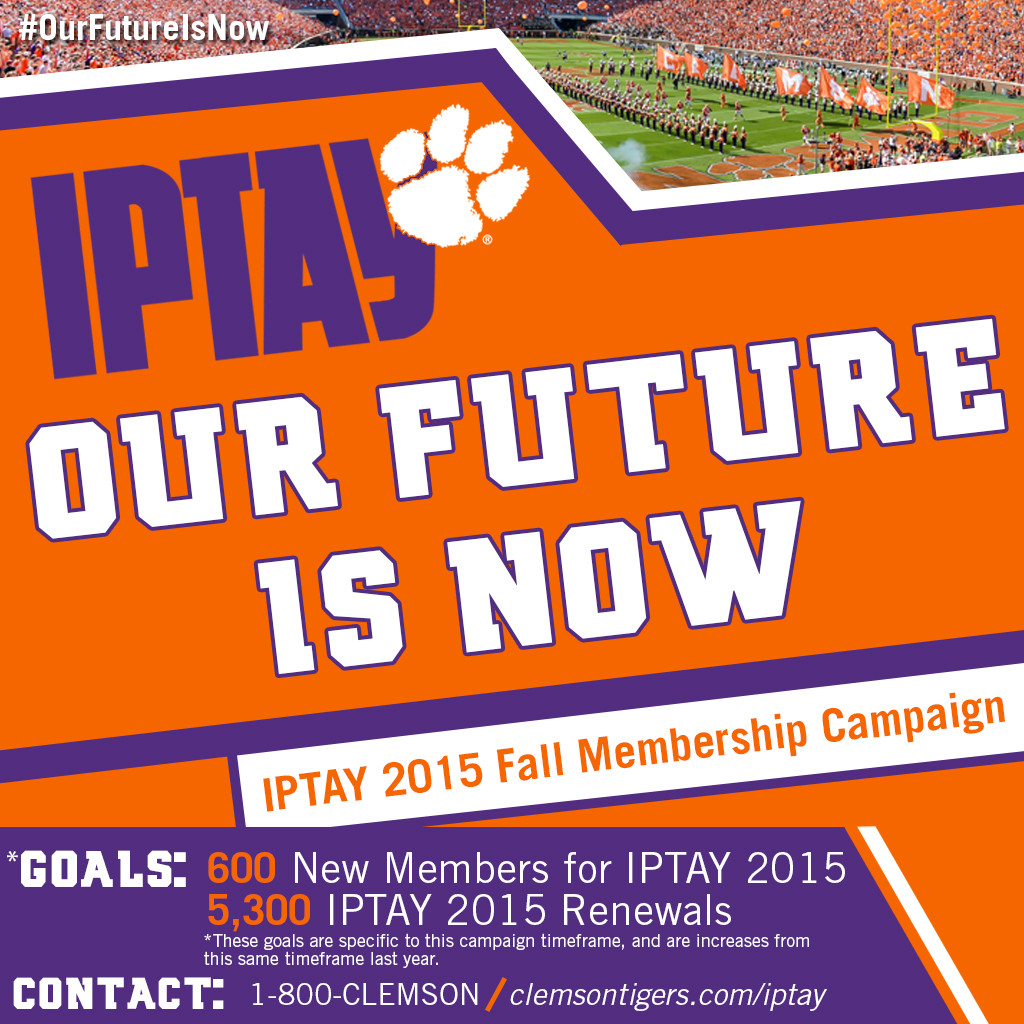 """Act Now! Only 14 Days Remain In The IPTAY """"Our Future Is Now"""" Fall Membership Campaign"""