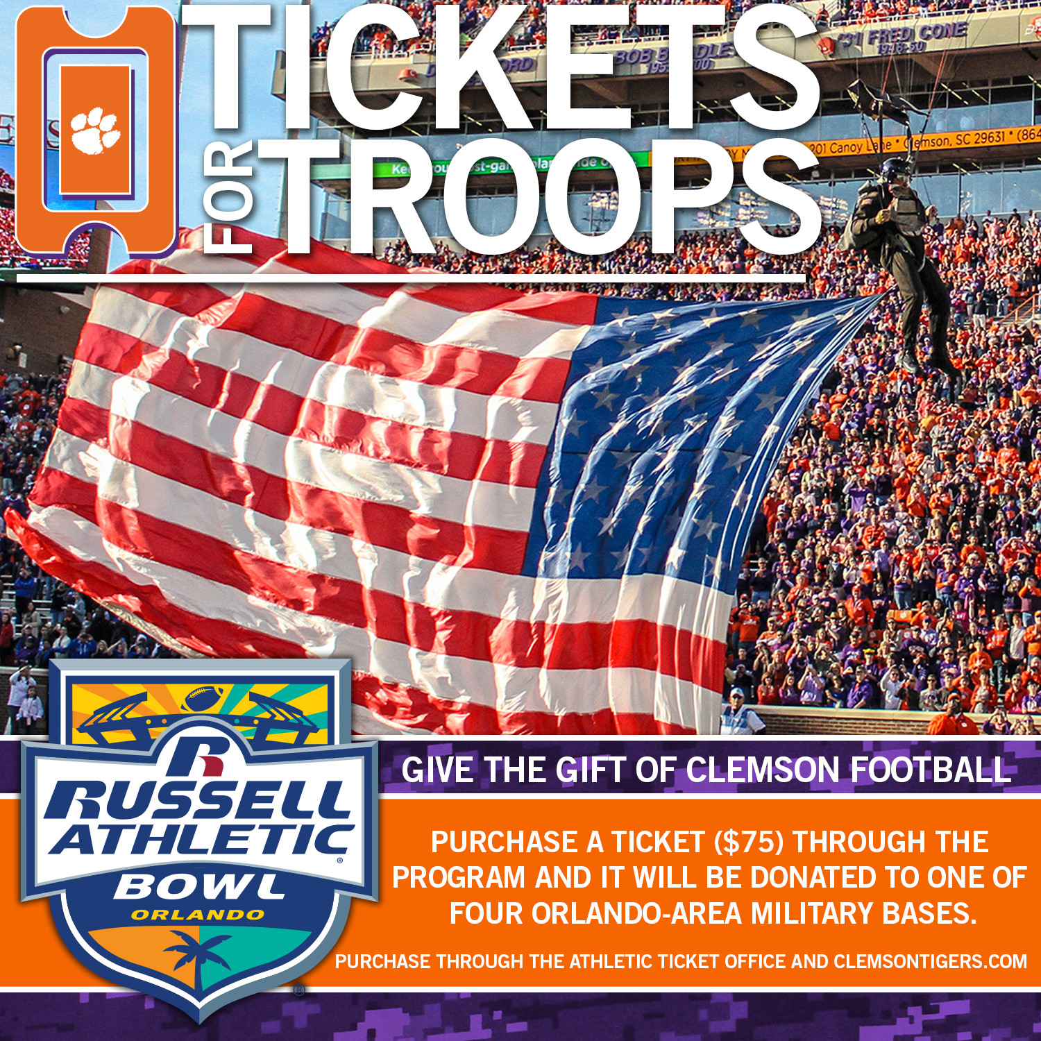 """Tigers To Provide """"Tickets for Troops"""" in Orlando Area"""
