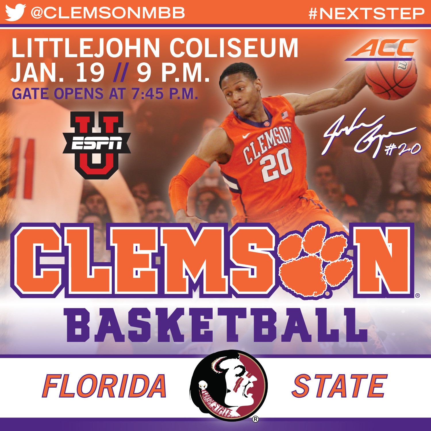 Tigers Host Florida State Monday