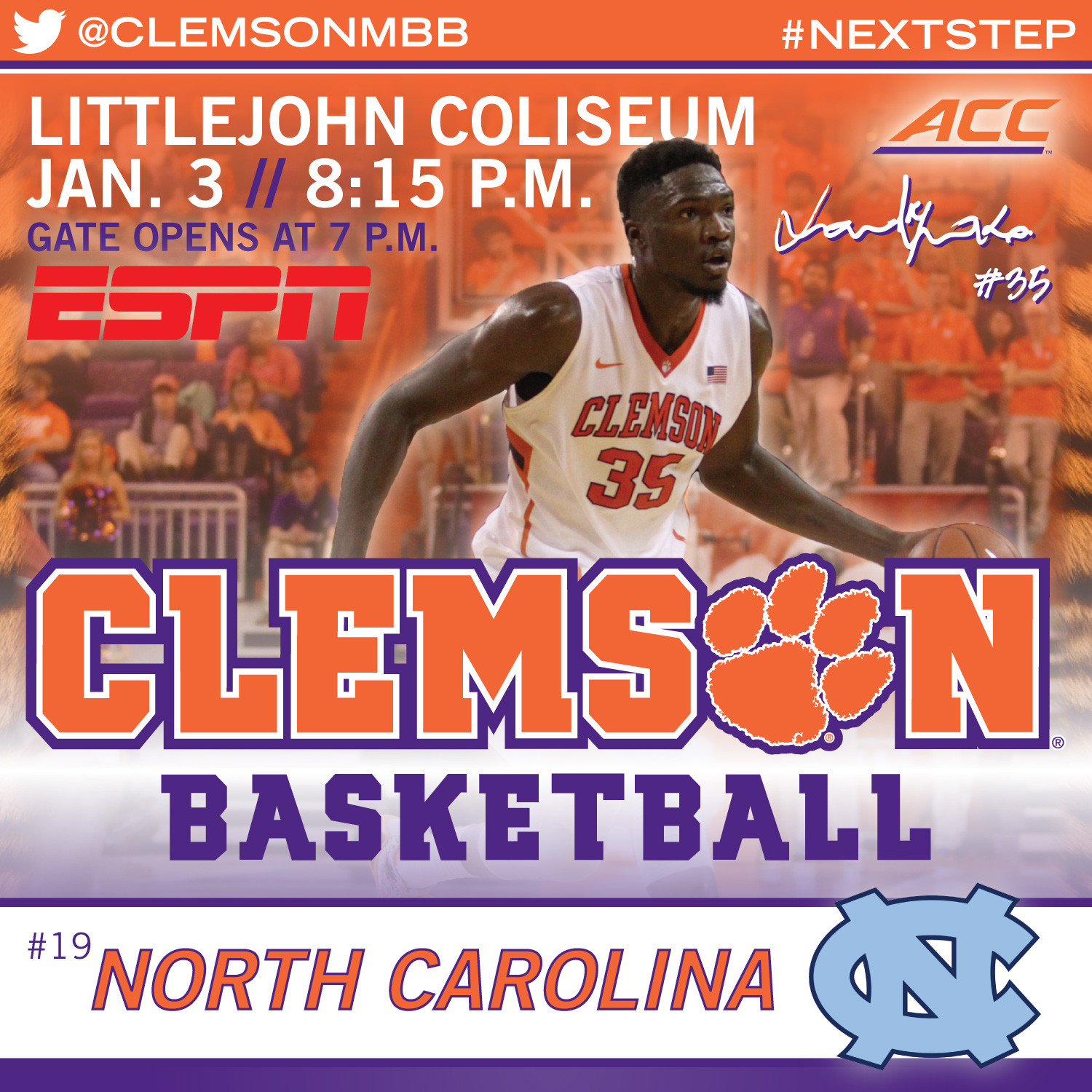 Tigers Open ACC Play vs. North Carolina