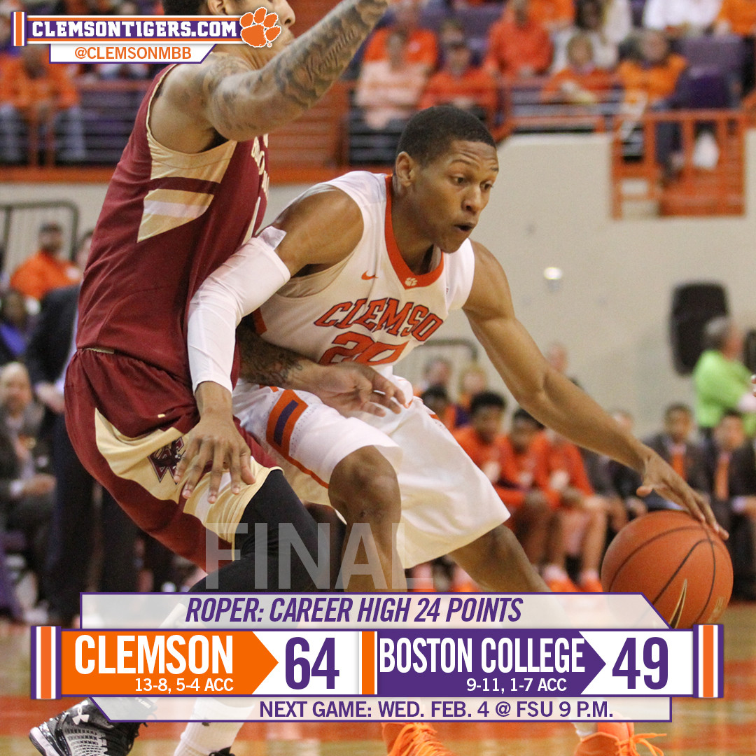 Clemson Downs BC on Alumni Weekend, 64-49
