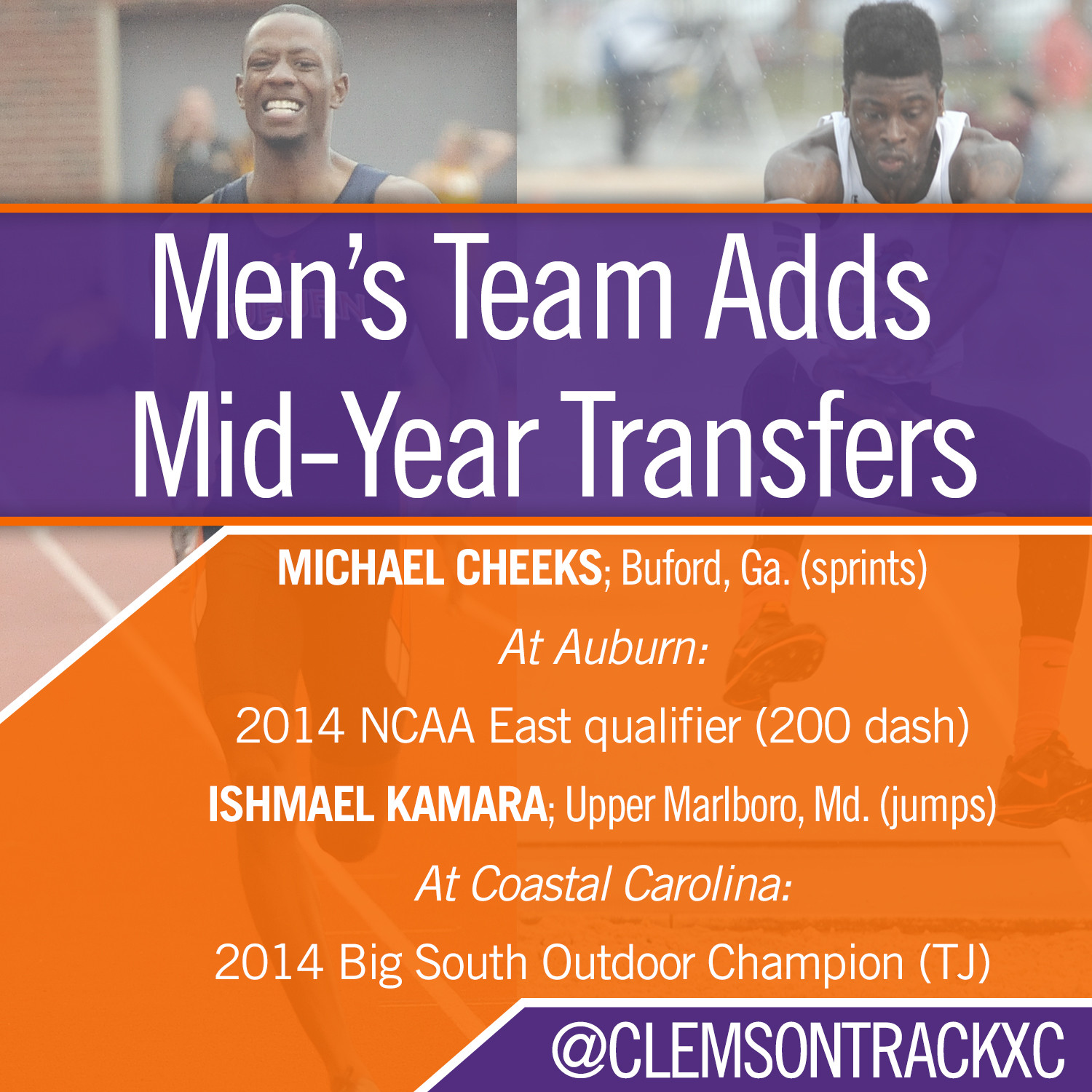 Two Track & Field Transfers Begin First Semester at Clemson