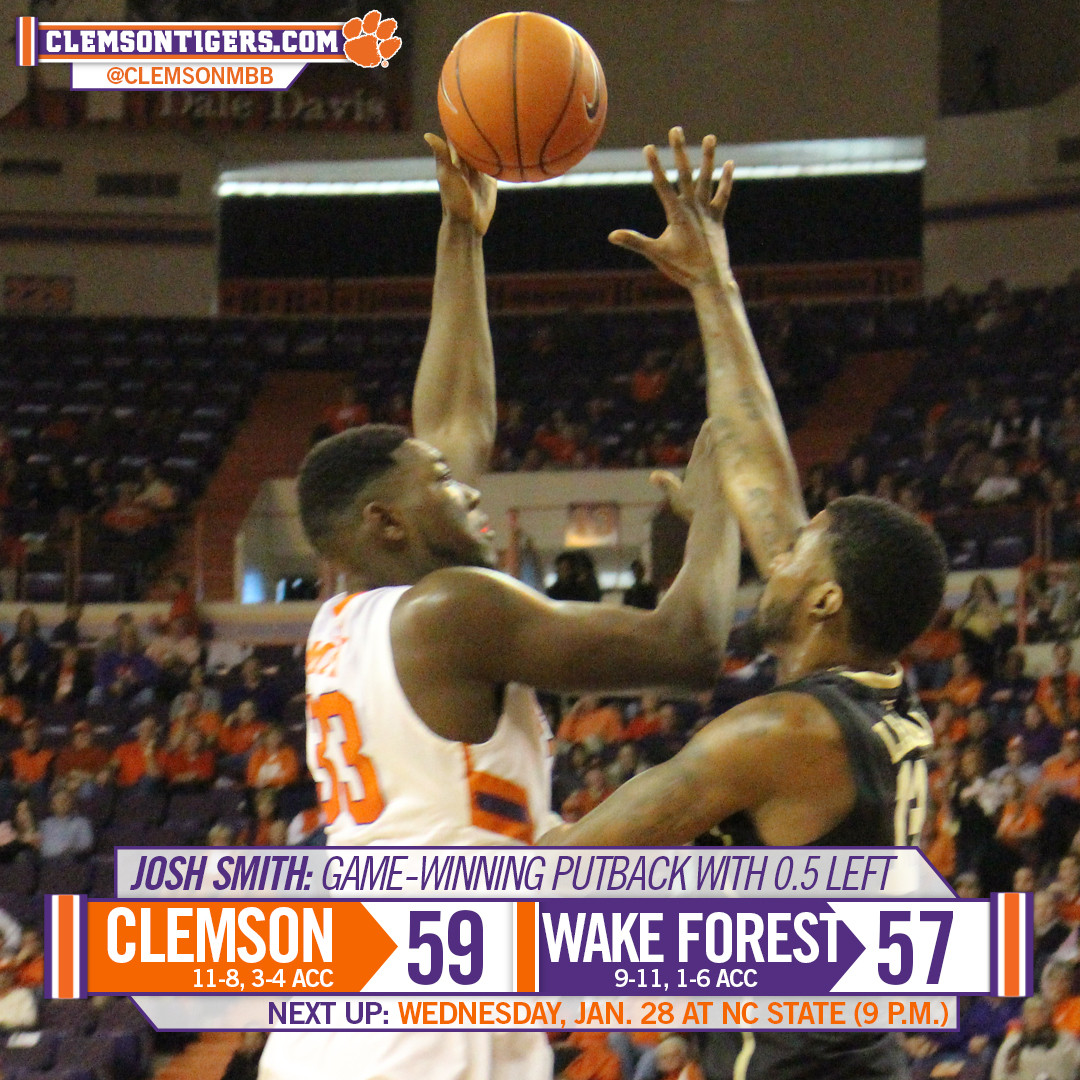 Smith?s Putback Lifts Tigers to 59-57 Victory over Wake