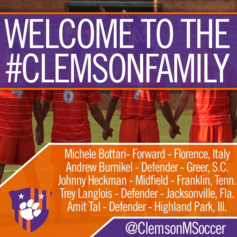 Clemson Men?s Soccer Signs Five for 2015