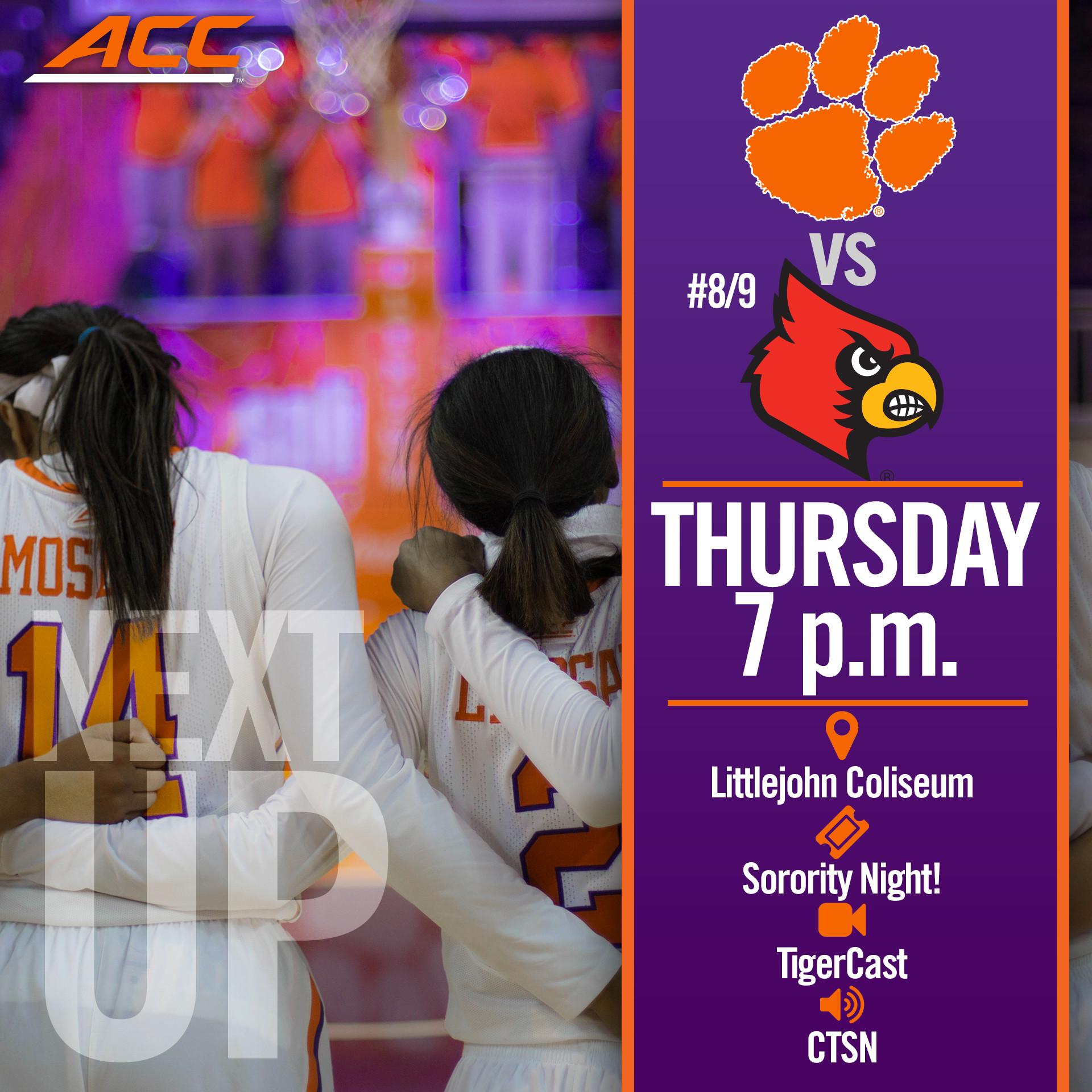 Tigers, No. 8/9 Louisville Meet Thursday