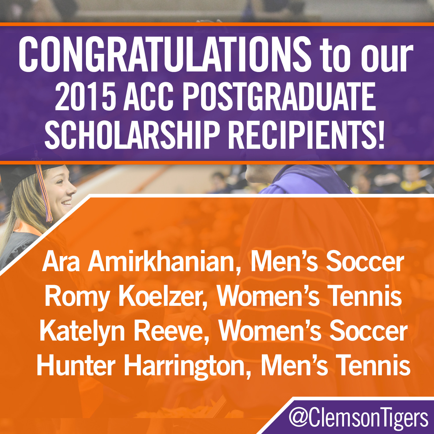 Four Clemson Student-Athletes Earn ACC Postgraduate Scholarship Awards