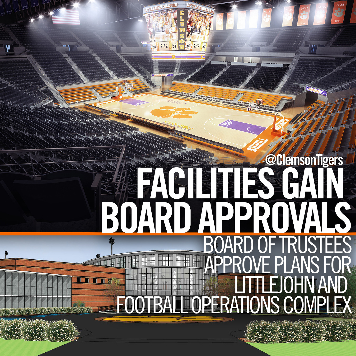 Clemson Board of Trustees Gives Approval to Football, Littlejohn Projects