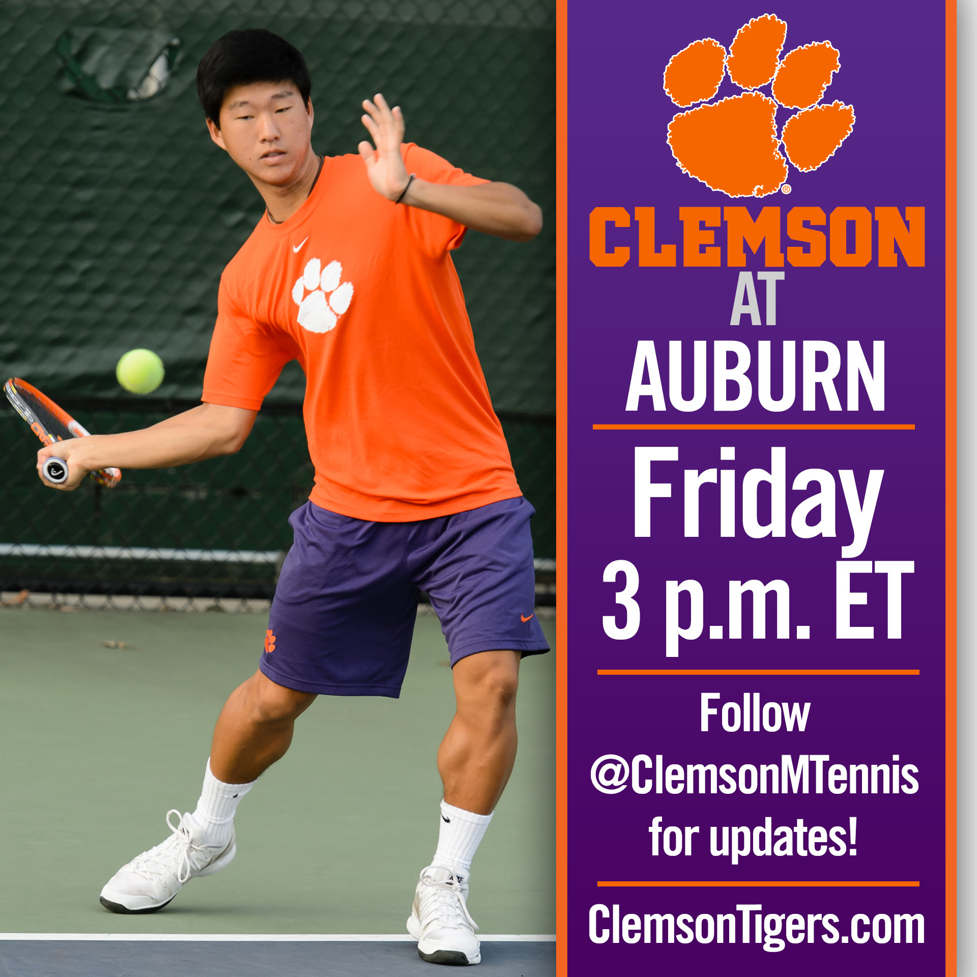 No. 34 Clemson Travels to No. 38 Auburn Friday