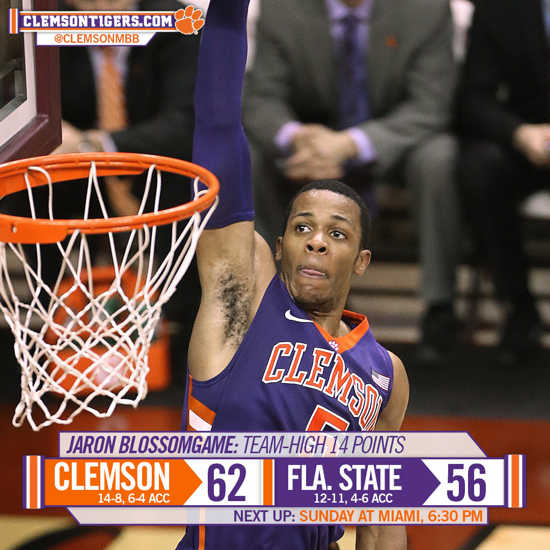 Clemson Clings to 62-56 Victory at Florida State