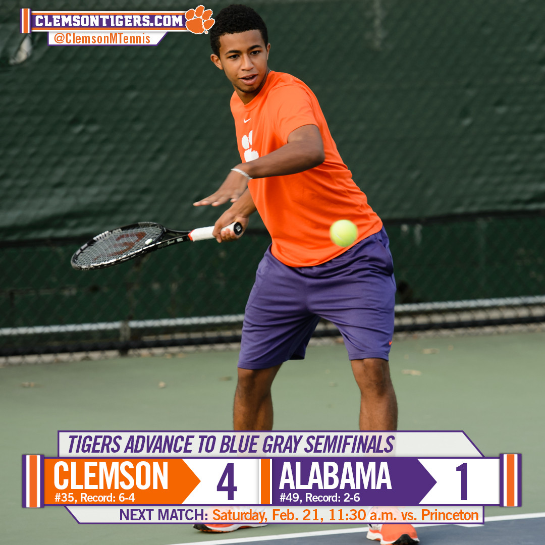 No. 35 Clemson Defeats No. 49 Alabama 4-1 in Opening Match of Blue Gray Classic