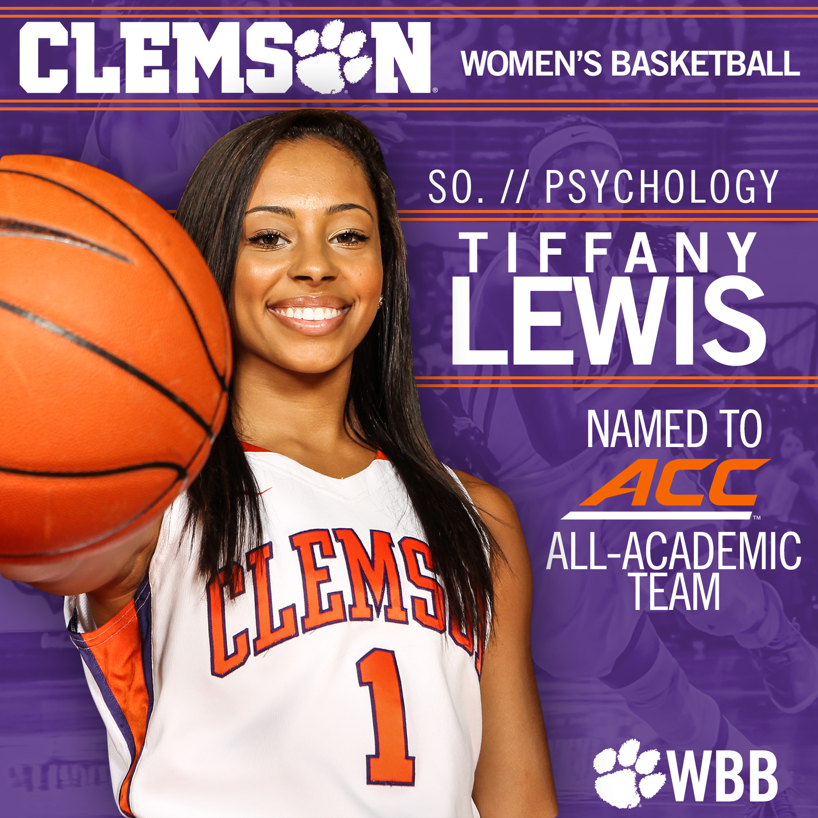 Tiffany Lewis named Academic All-ACC