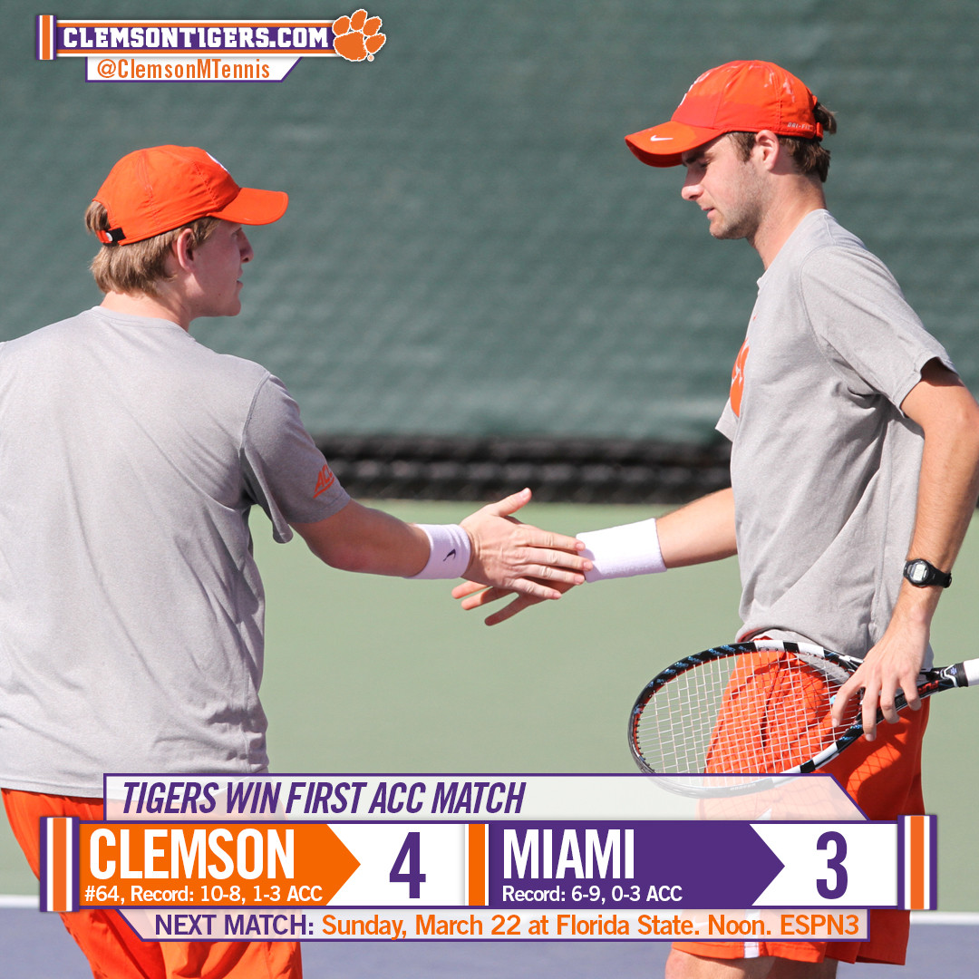 Clemson Wins First ACC Match of the Season Over Miami