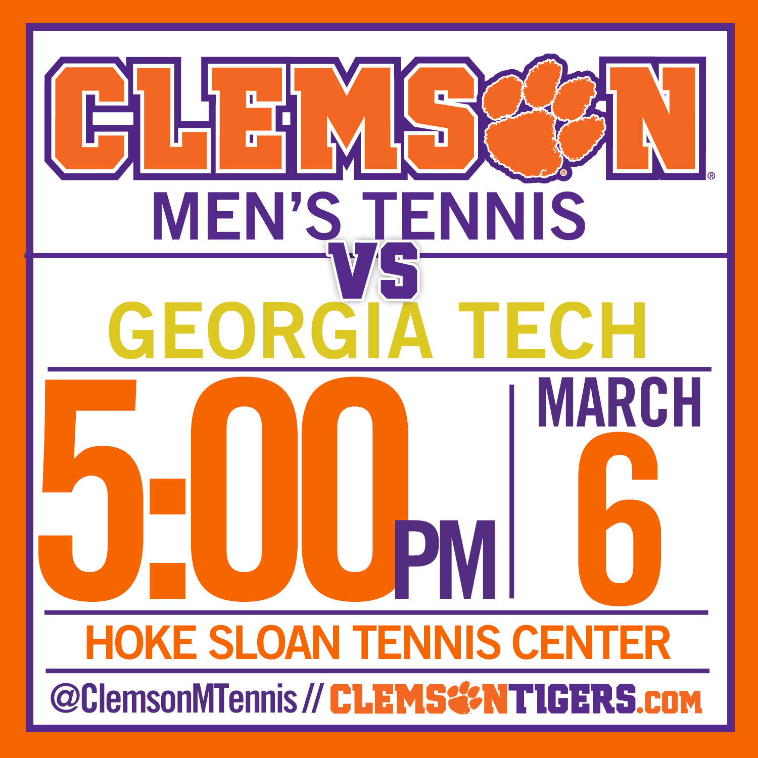 No. 52 Clemson Hosts Georgia Tech in ACC Opener Friday Night