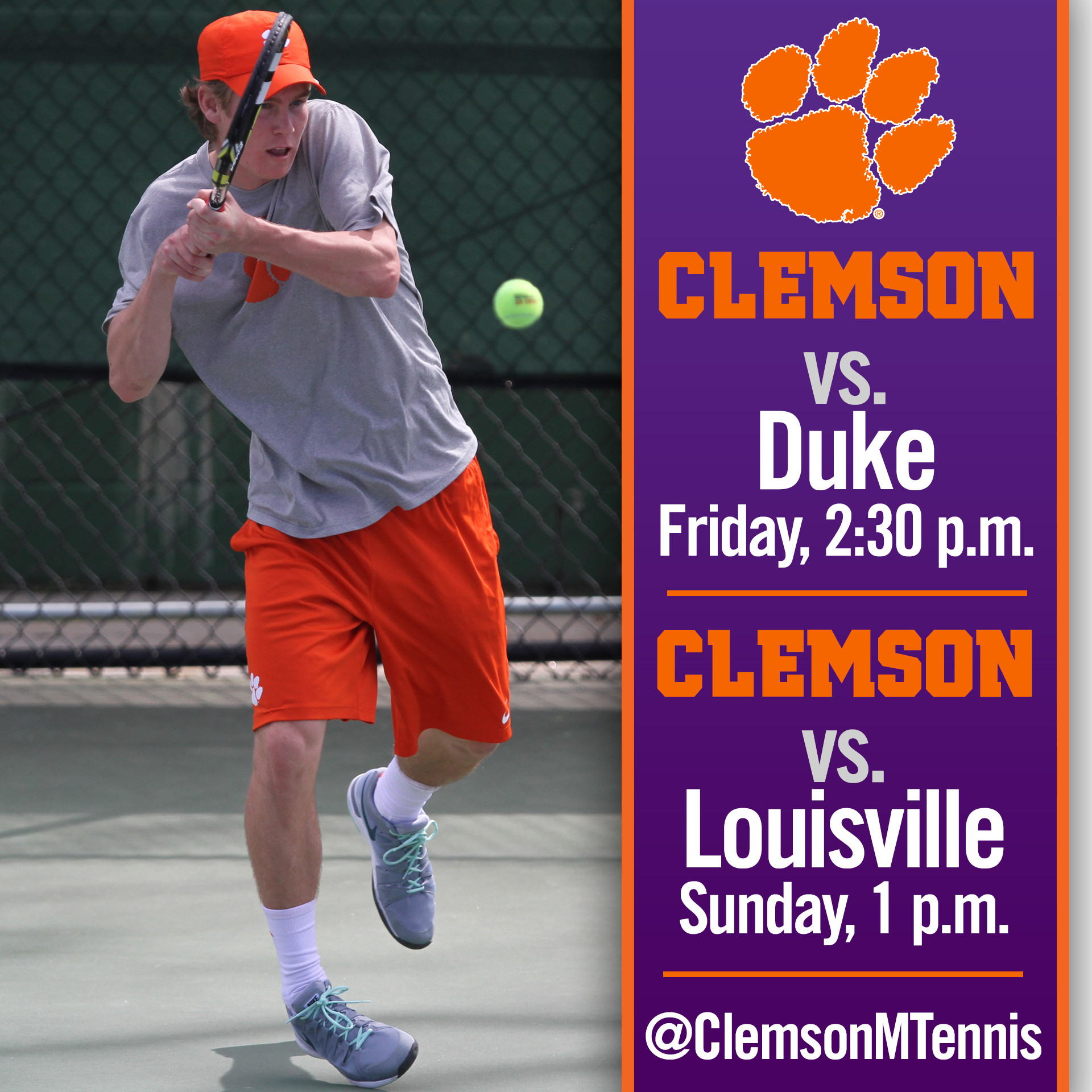 Clemson Hosts No. 4 Duke, No. 23 Louisville This Weekend