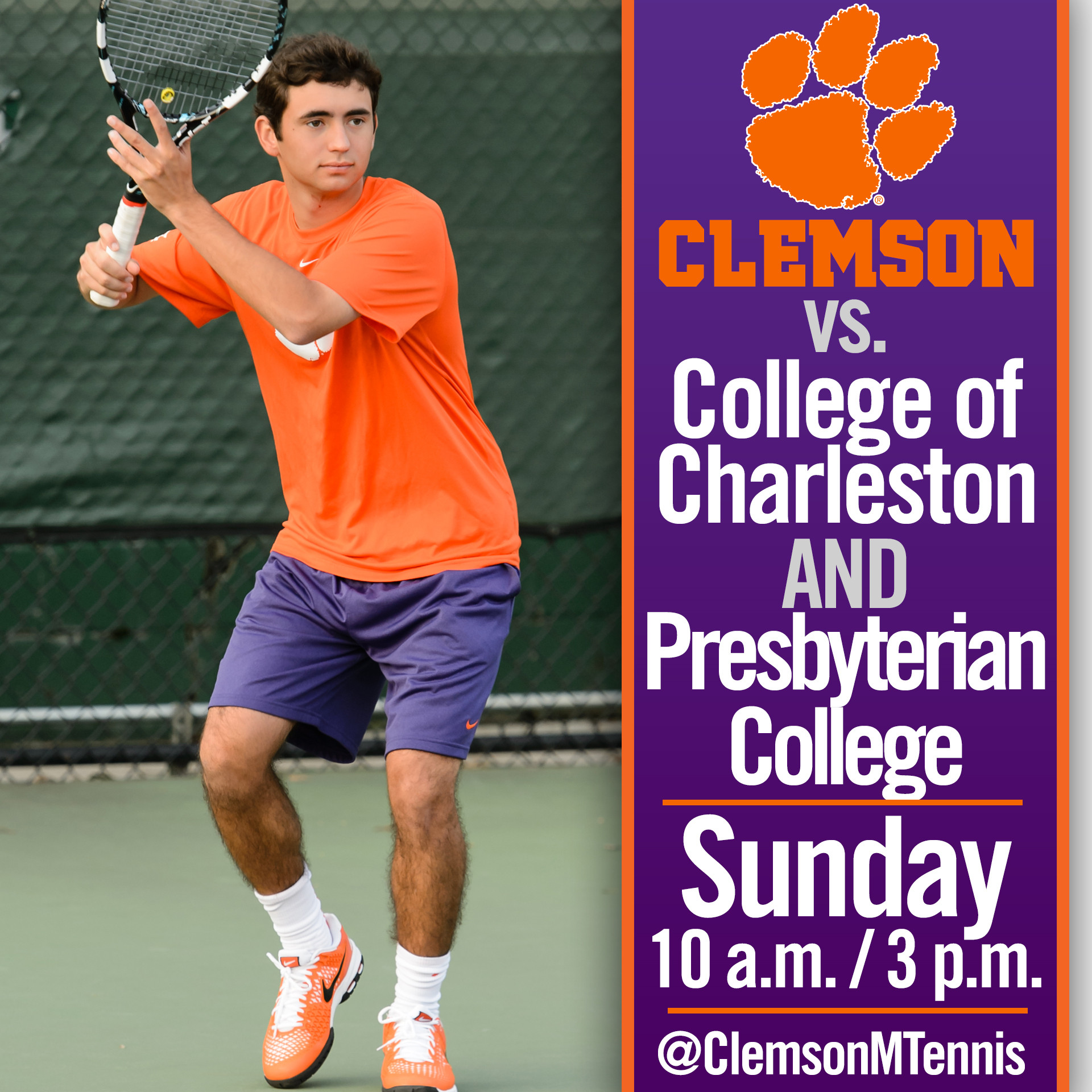 Clemson Hosts College of Charleston and Presbyterian College in Home Double-Header Sunday