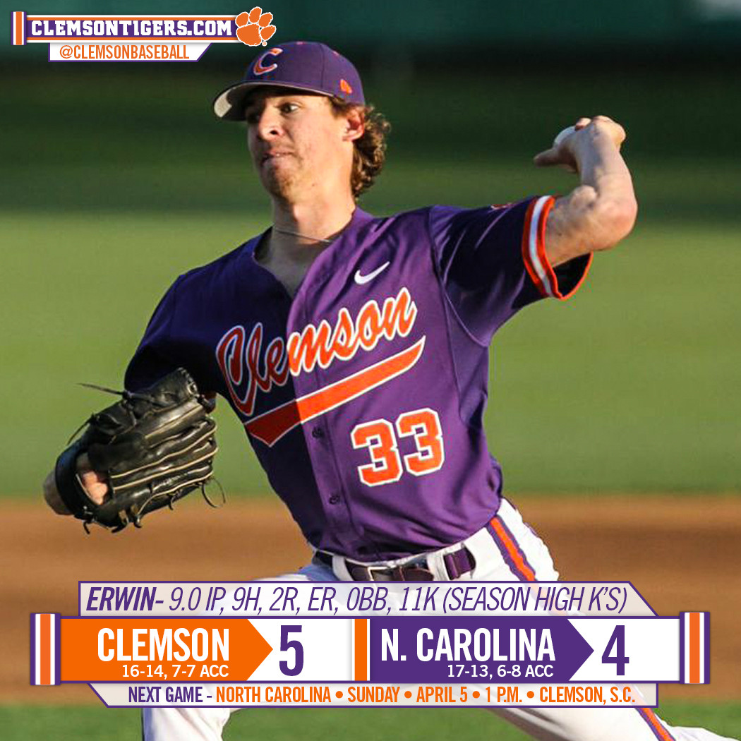 Tigers Top Tar Heels 5-4 in 11