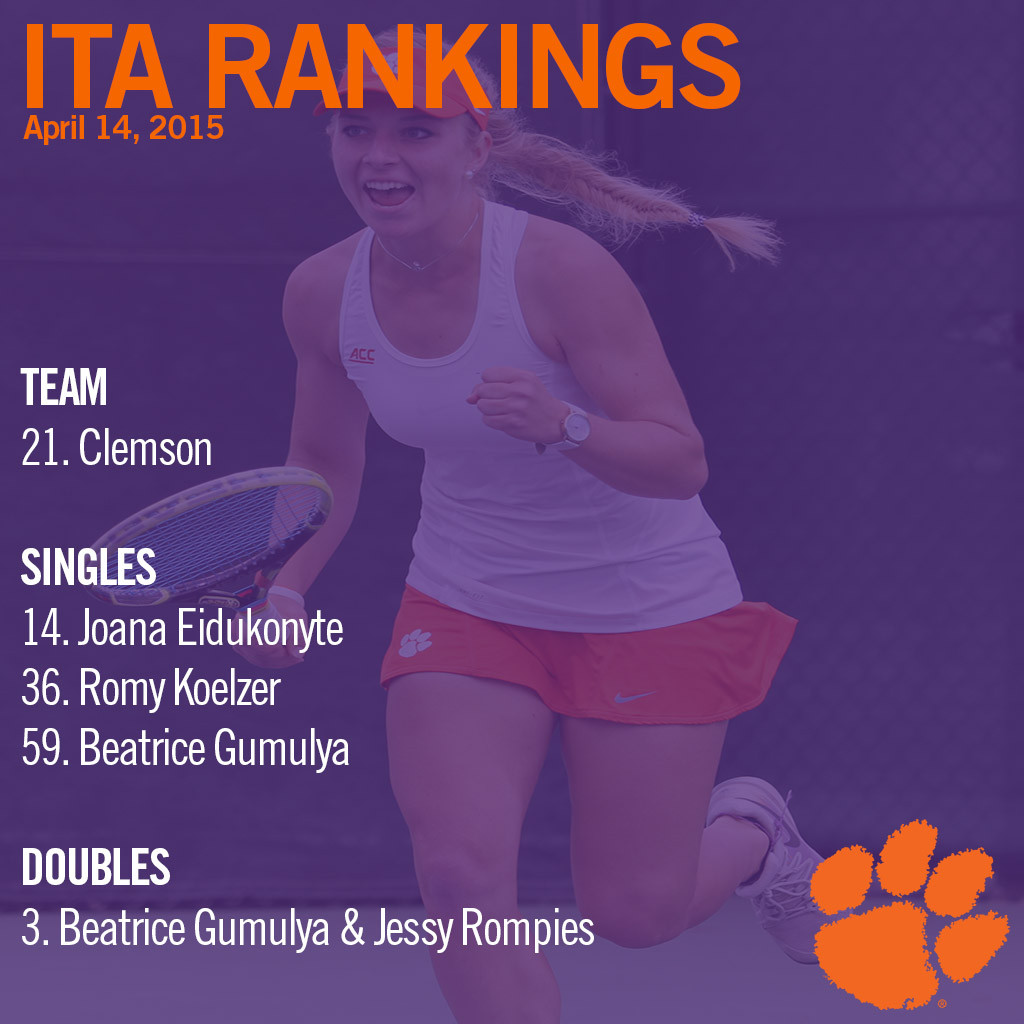 Tigers Ranked 21st in Latest ITA Poll, Eidukonyte Up to 14th