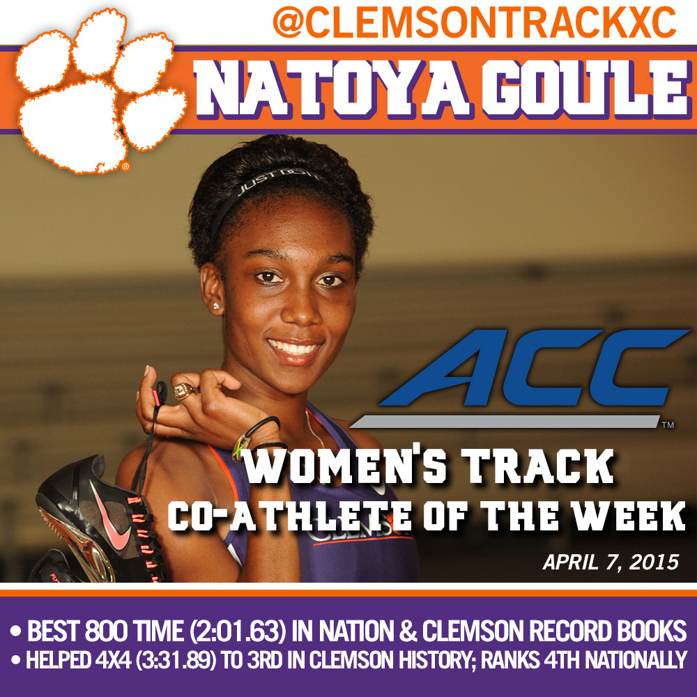 Goule ACC Women?s Track Co-Athlete of the Week