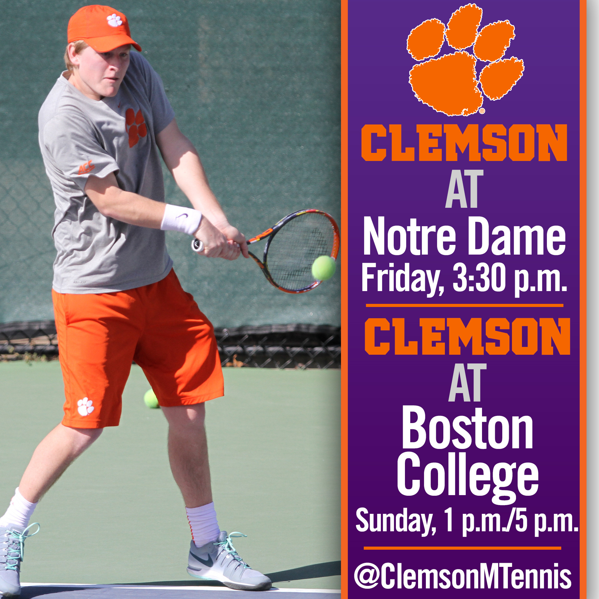 Clemson Travels to Notre Dame, Boston College This Weekend