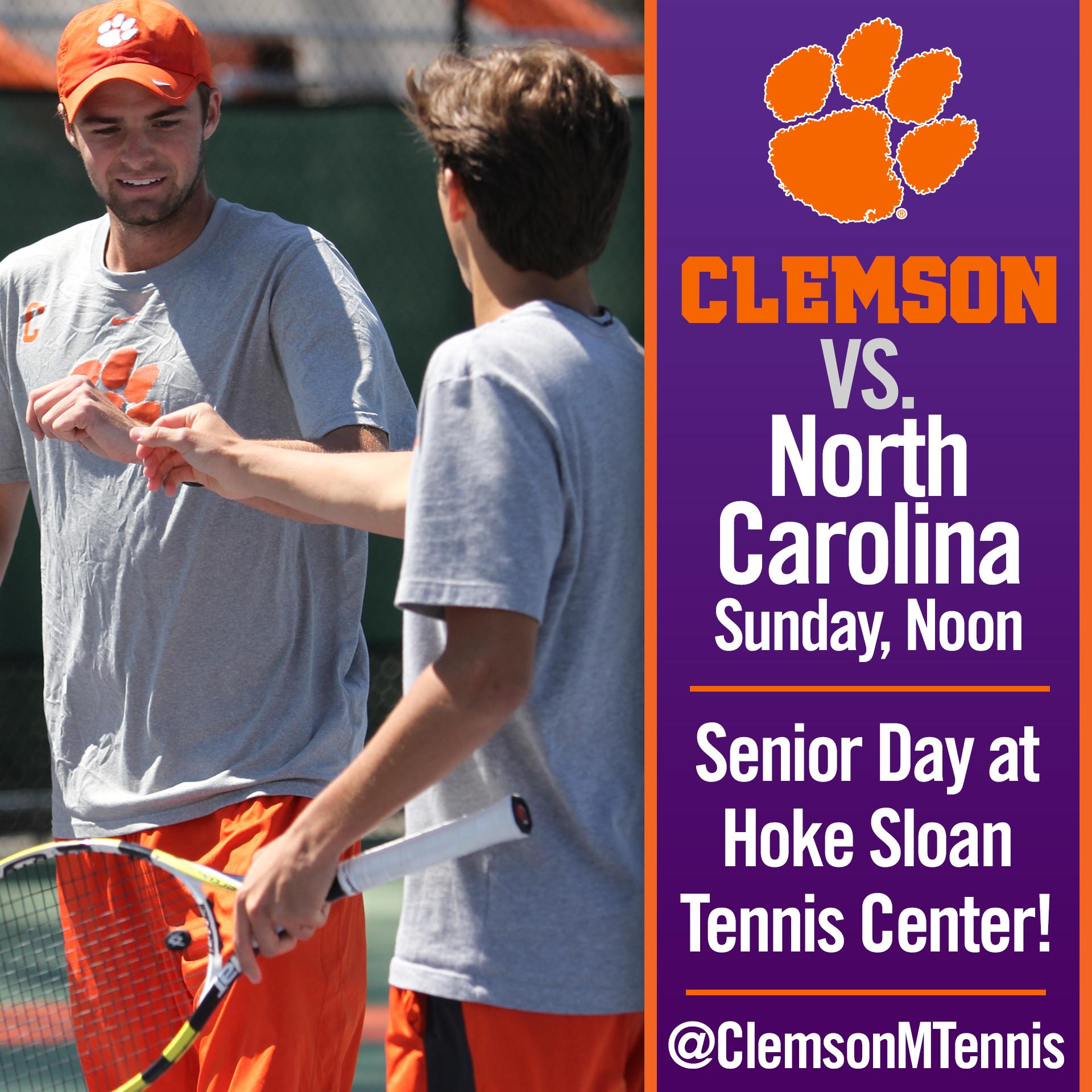 Clemson Hosts No. 15 North Carolina in Final Home Match on Sunday
