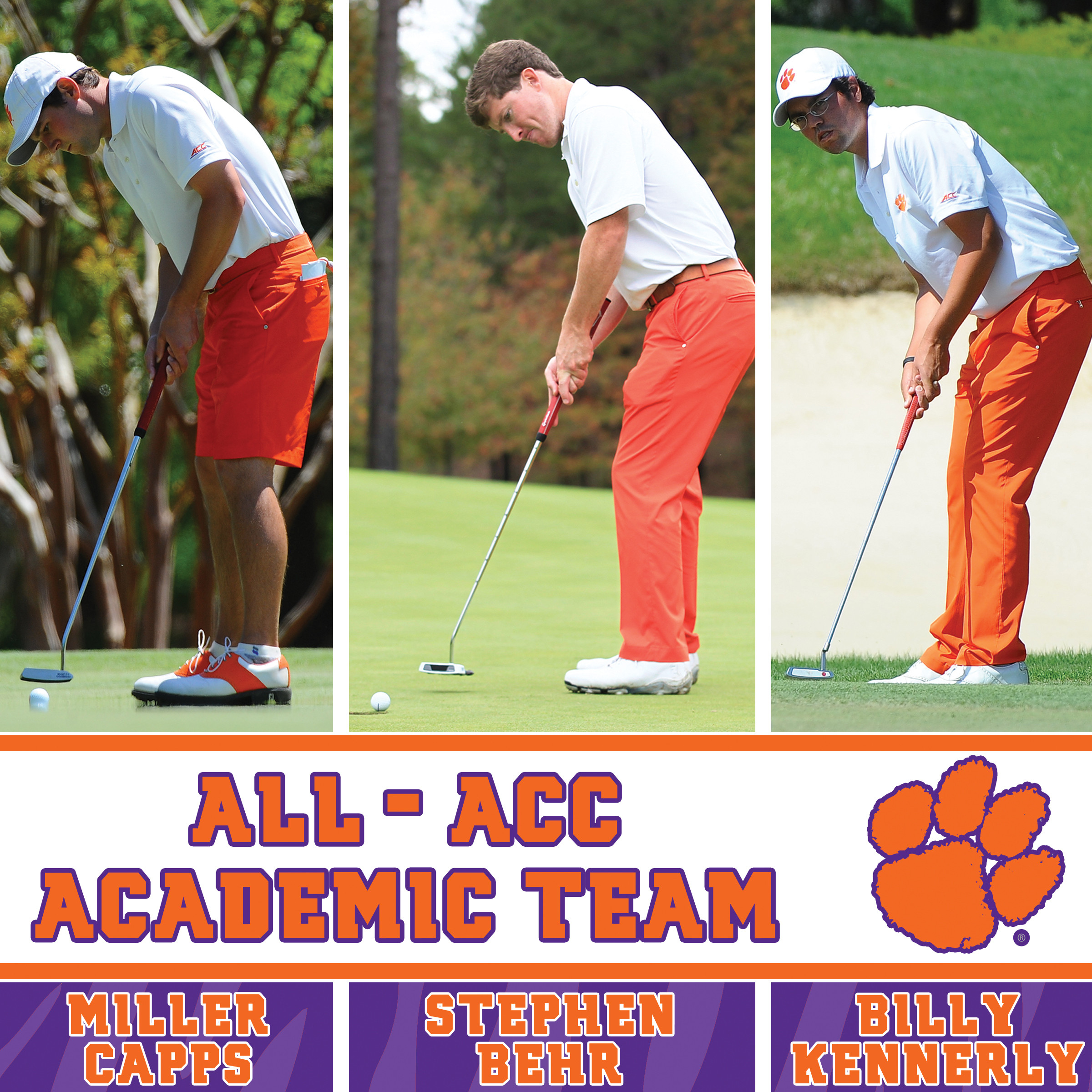 Three Clemson Golfers Named Academic All-ACC