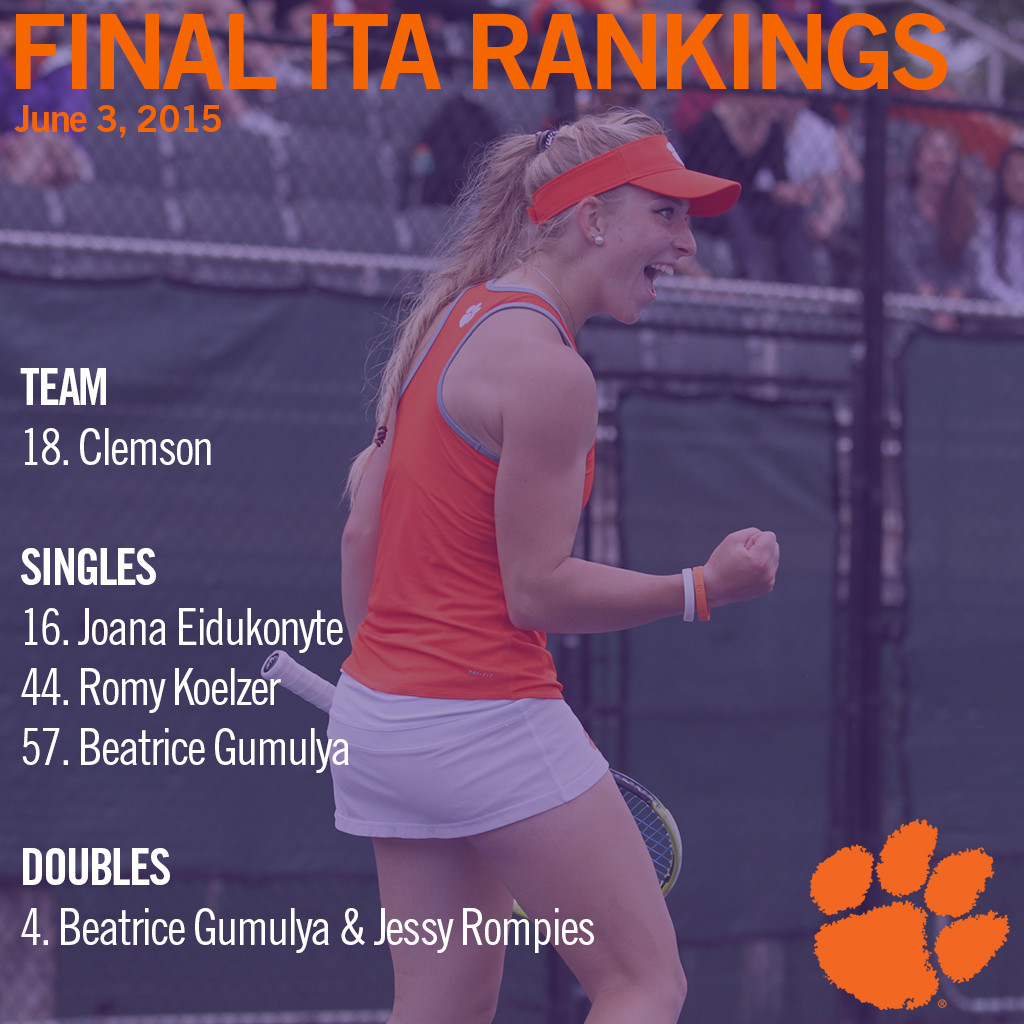 Final Individual ITA Rankings Released, Four Tigers Included