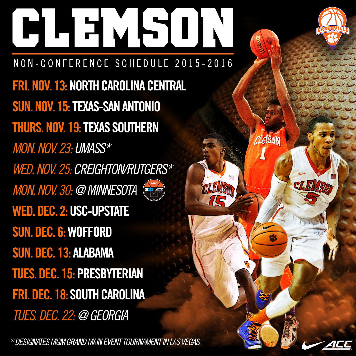 2015-16 Non-Conference Schedule Announced