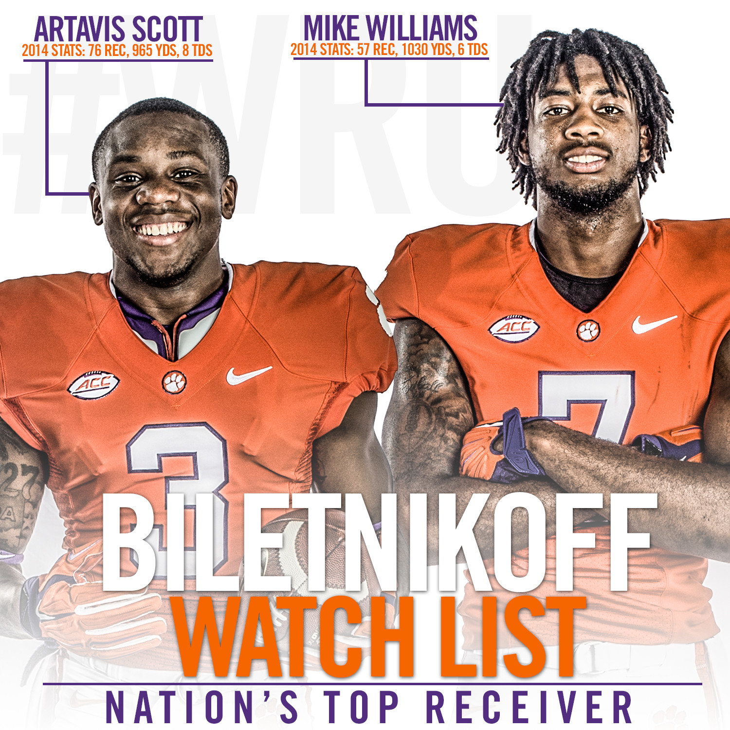 Williams and Scott Named to Biletnikoff Watch List