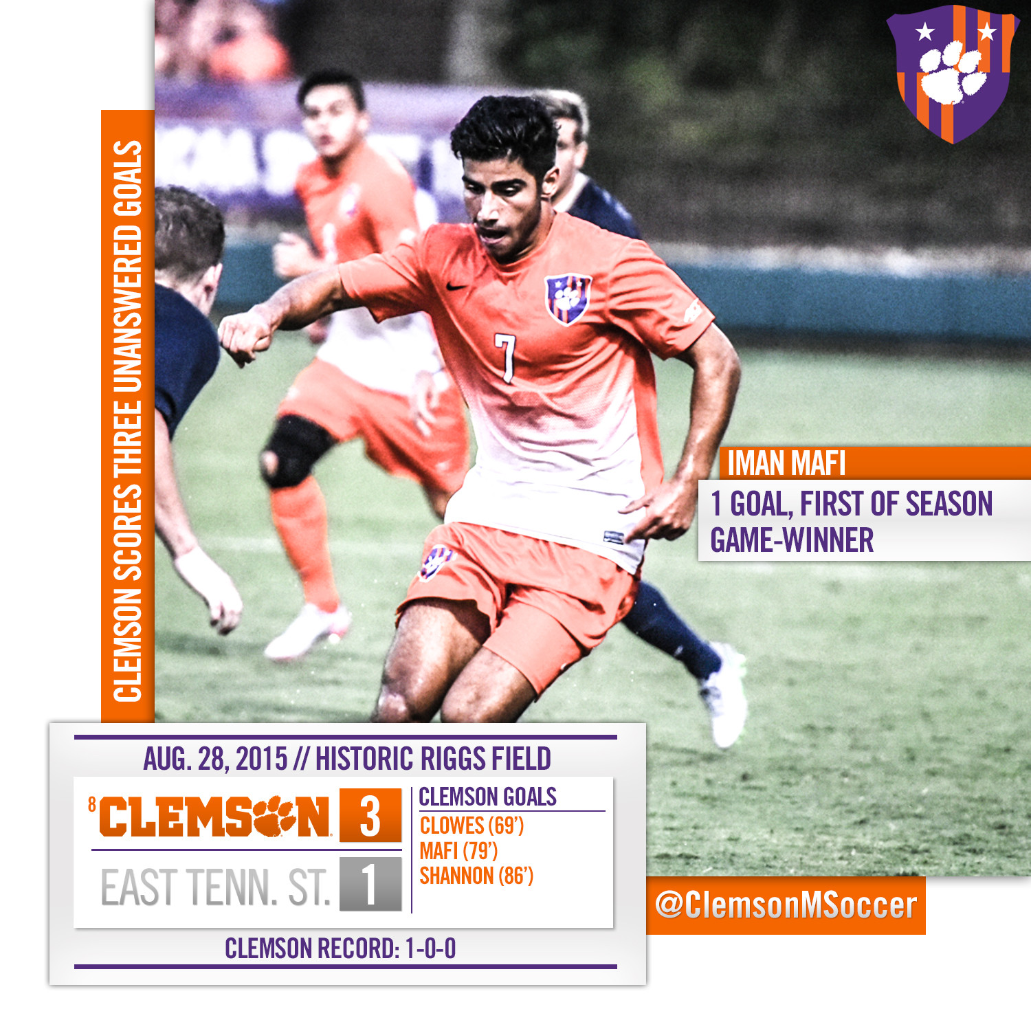 Clemson Scores Three Unanswered Goals to Win