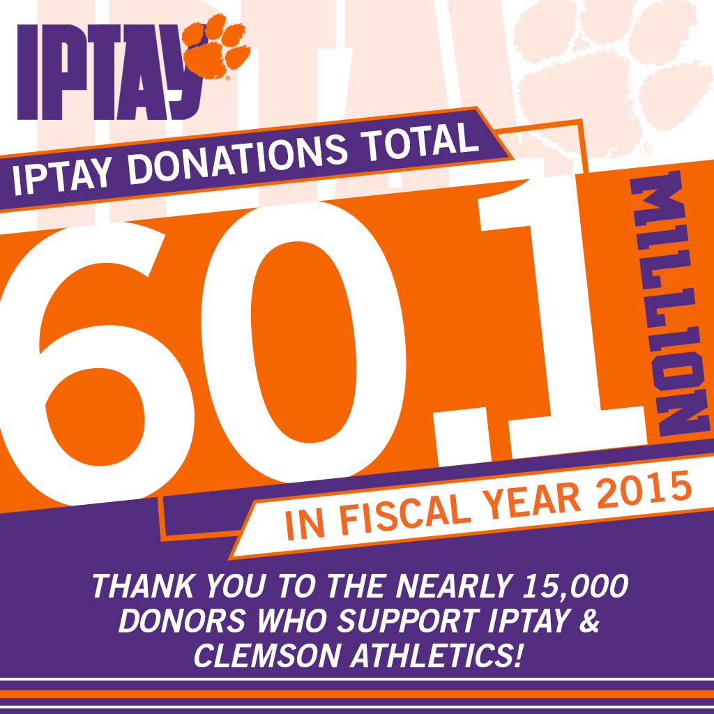 IPTAY Announces Total of $60.1m in Donations for FY15