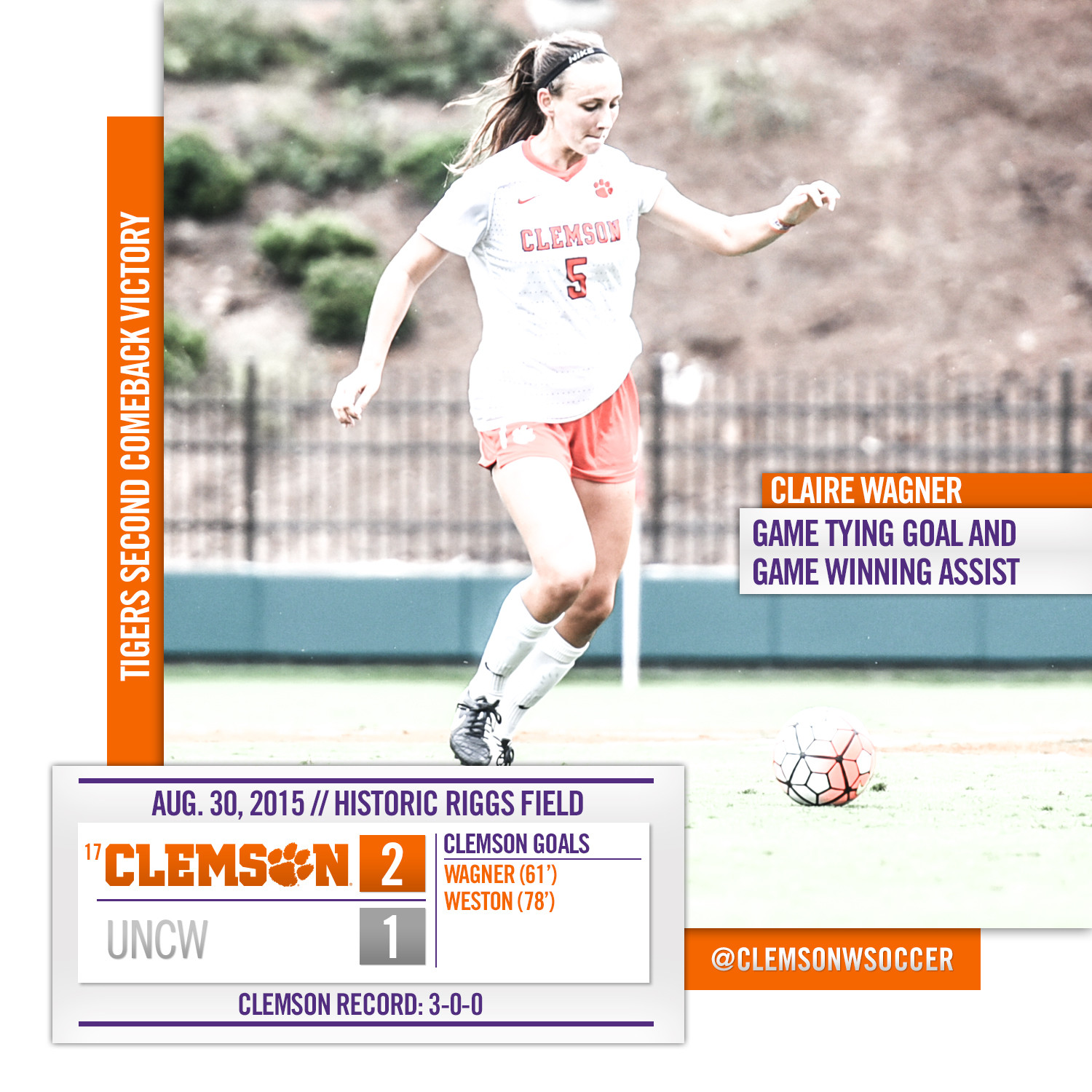 #17 Clemson Defeats UNCW, Improves to 3-0