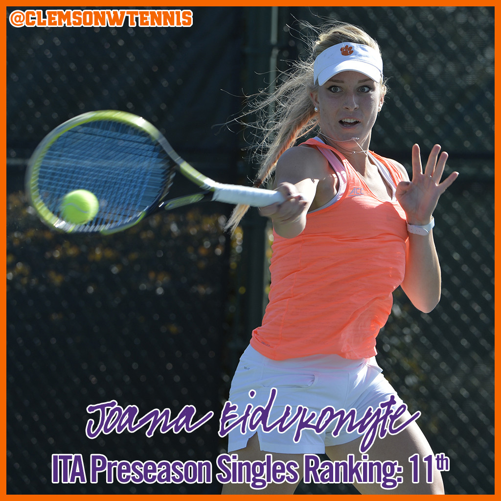 Eidukonyte Ranked 11th Nationally in Preseason Singles Poll