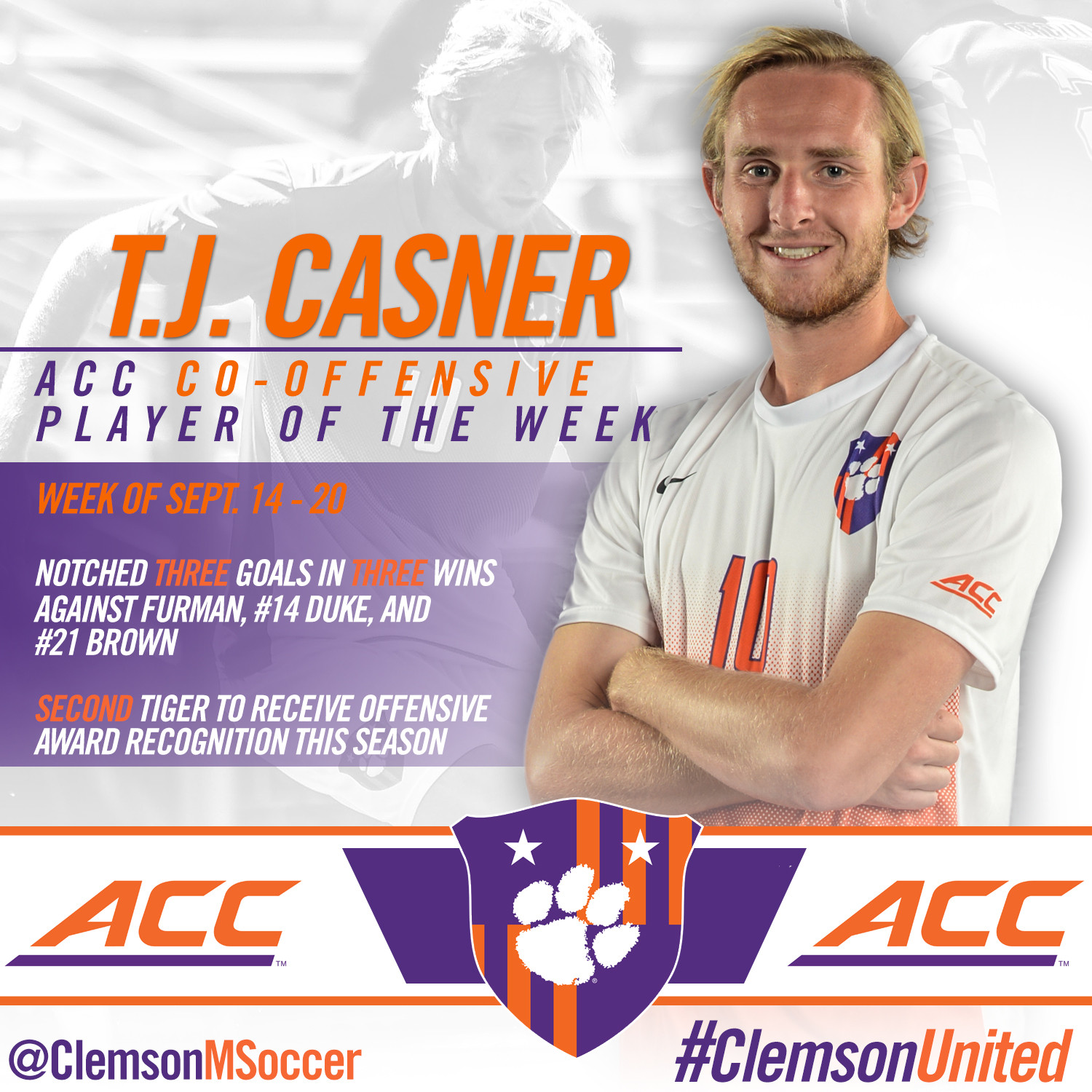 Casner Named ACC Co-Offensive Player of the Week