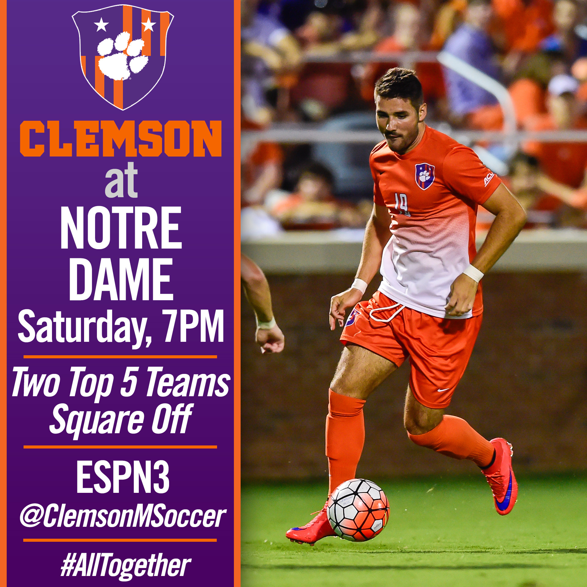 No. 5 Clemson Travels to No. 2 Notre Dame to Begin ACC Play
