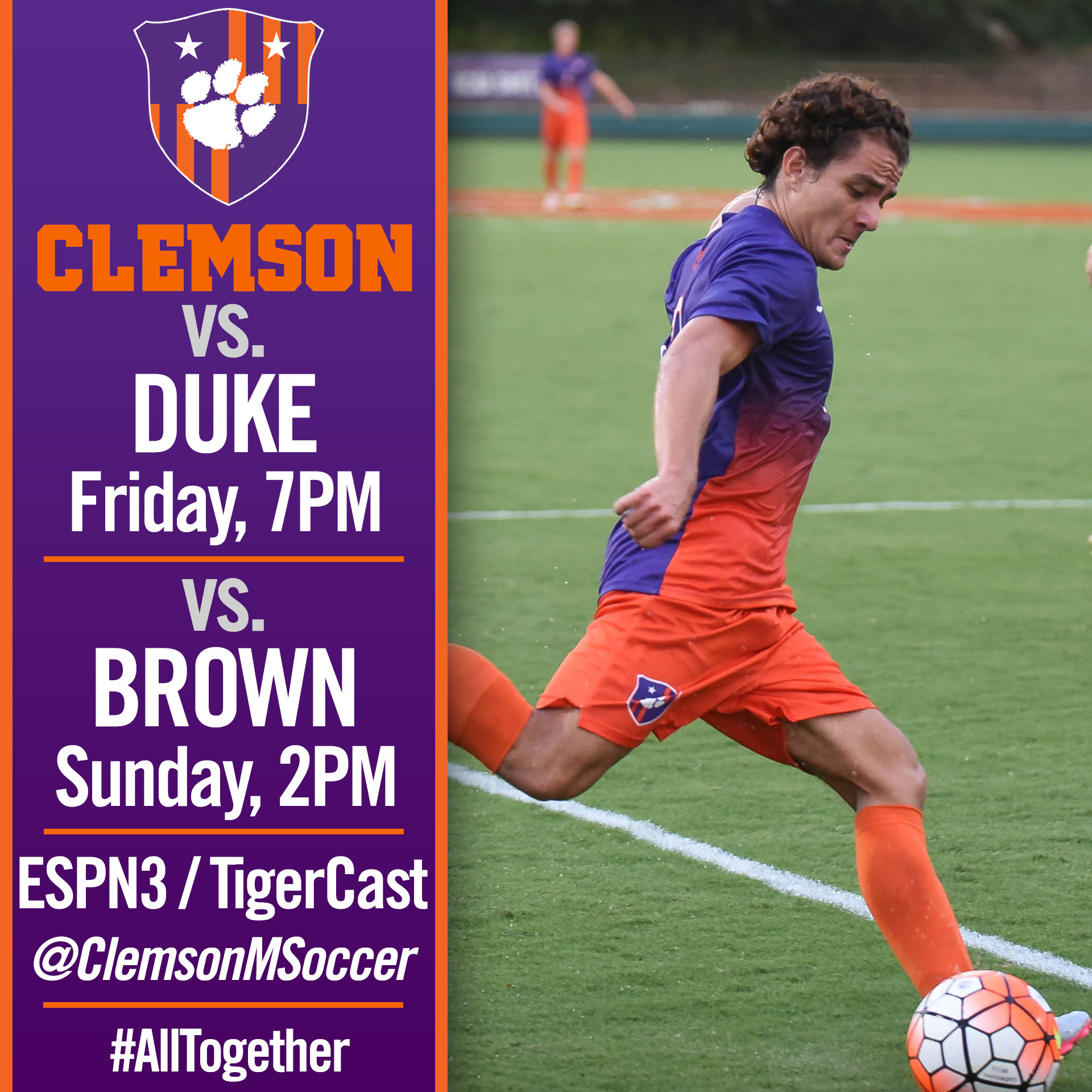 No. 7 Clemson Hosts Duke, Brown This Weekend
