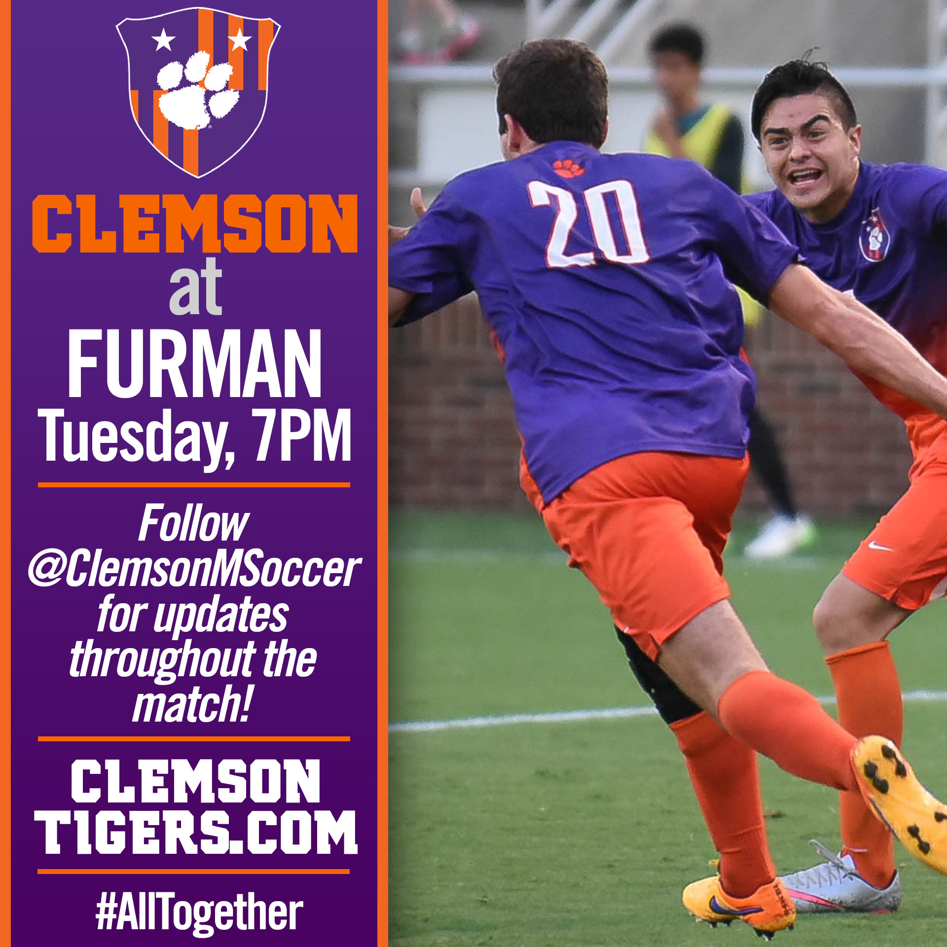 No. 5 Clemson Travels to Furman Tuesday Night