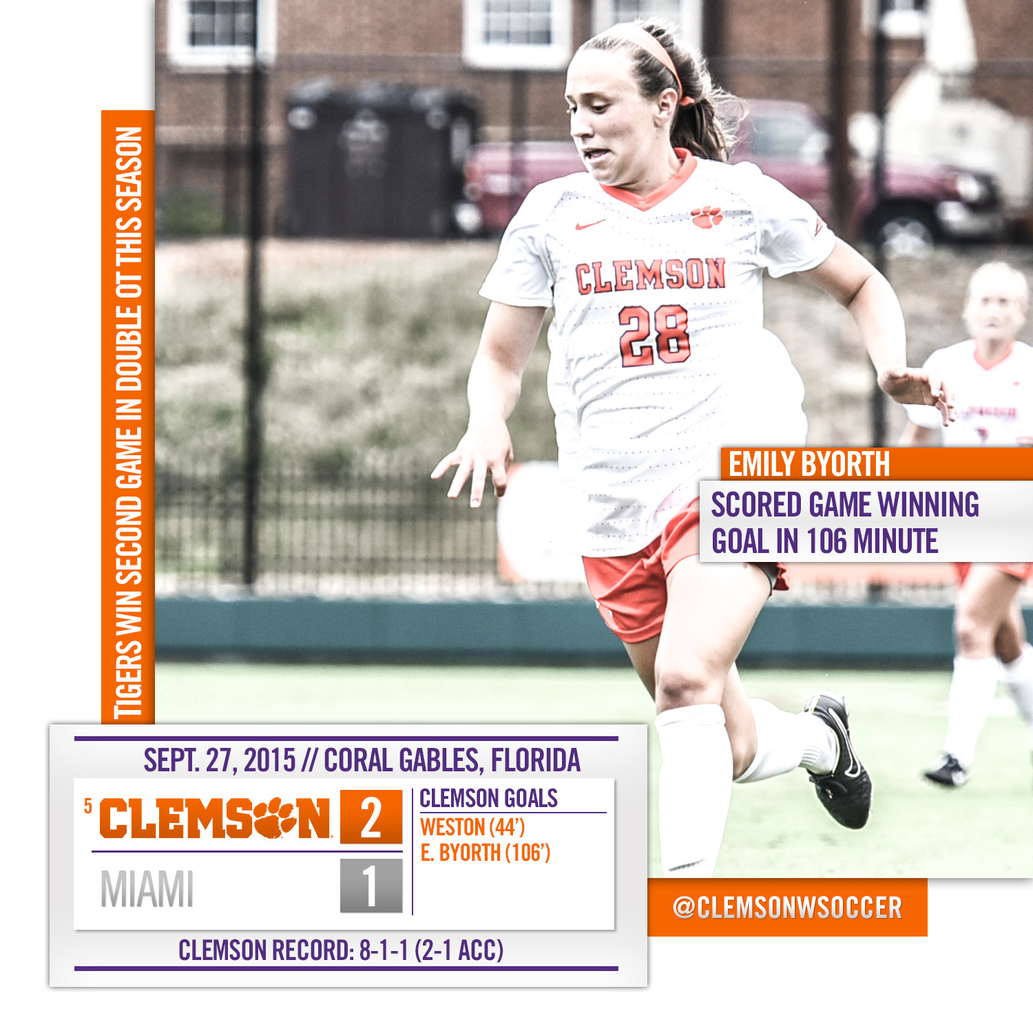 Clemson Picks Up First ACC Road Win at Miami