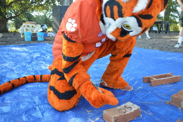 Tiger Joins Clemson Brickmaking Project