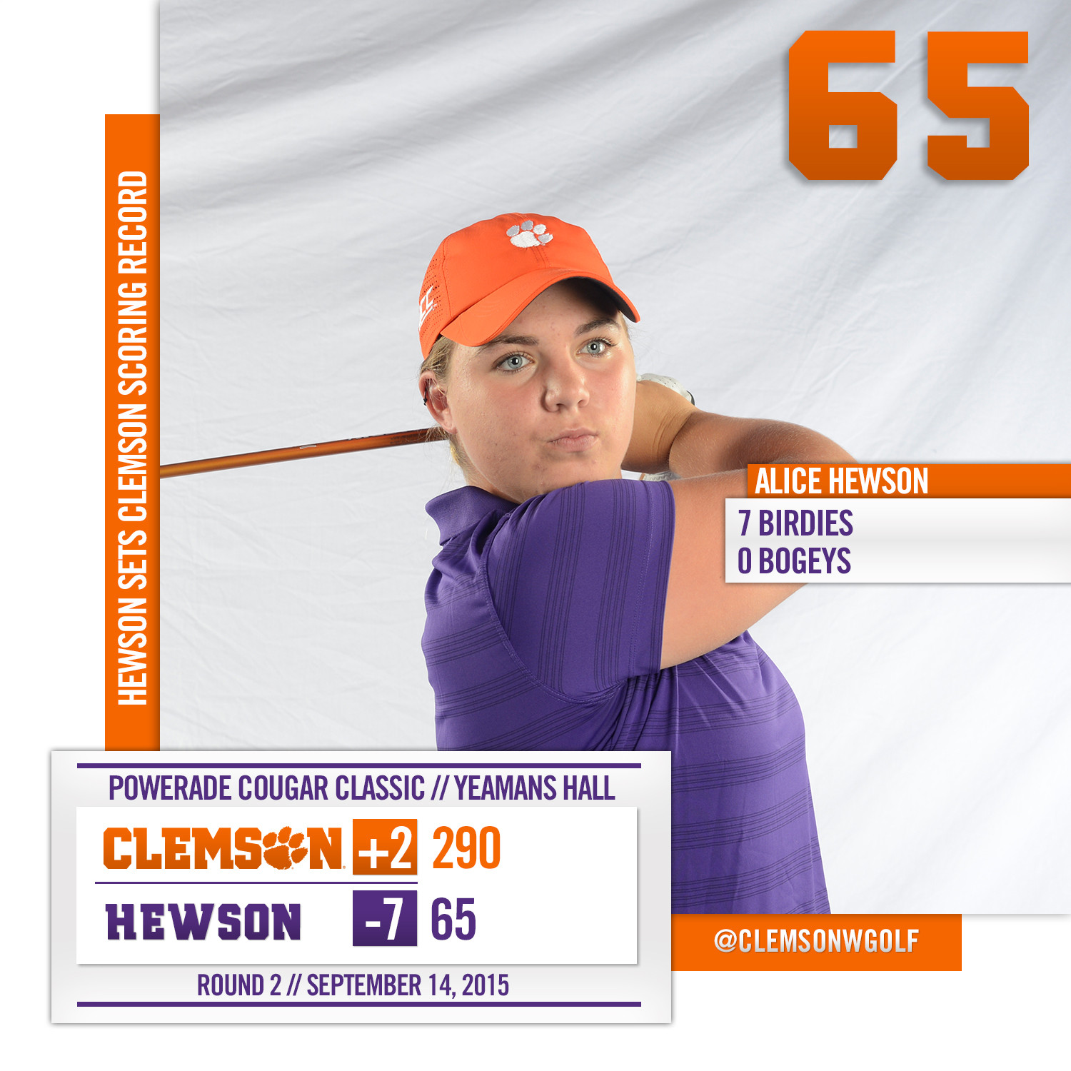 Hewson Sets Clemson Scoring Record