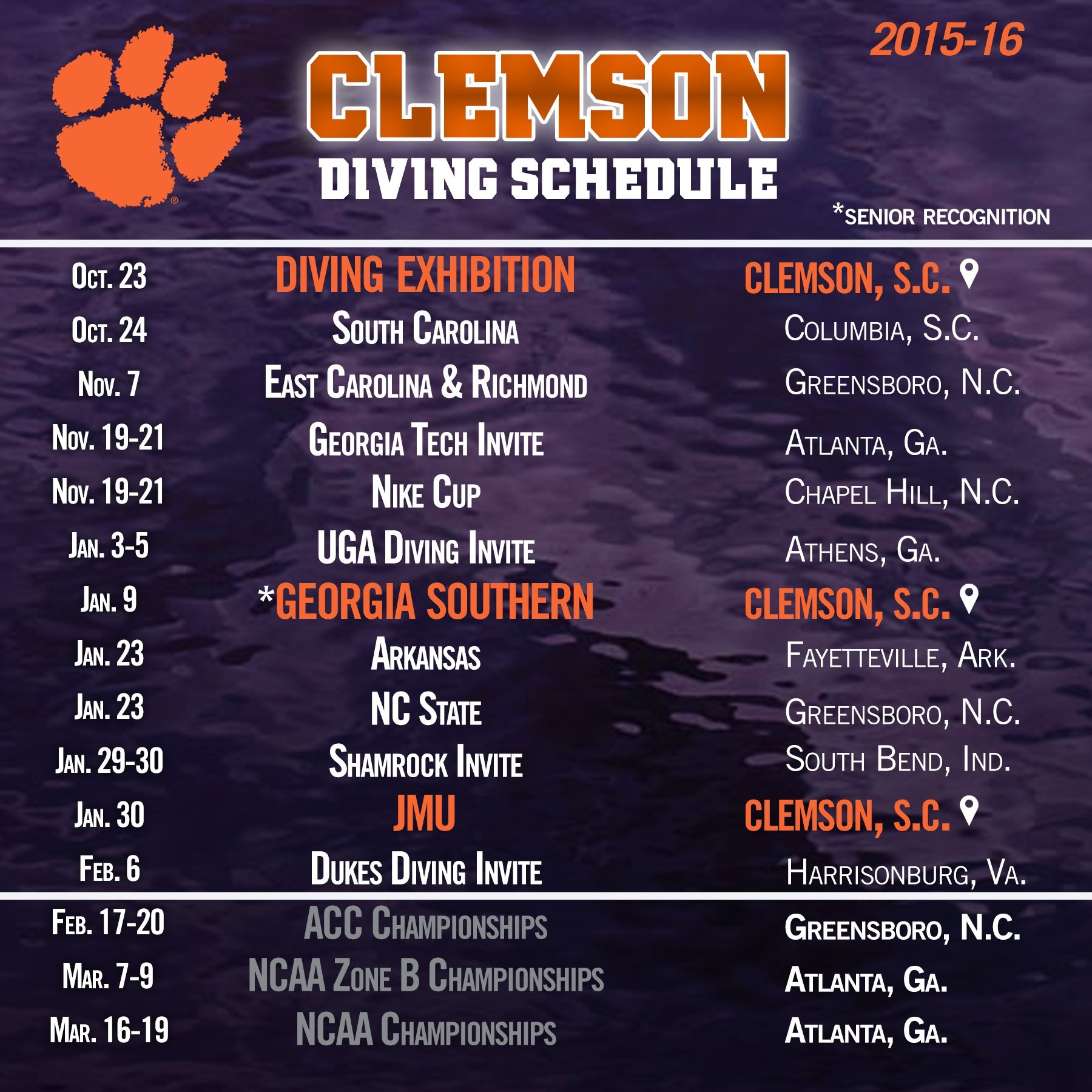 Clemson Diving Announces 2015-16 Schedule