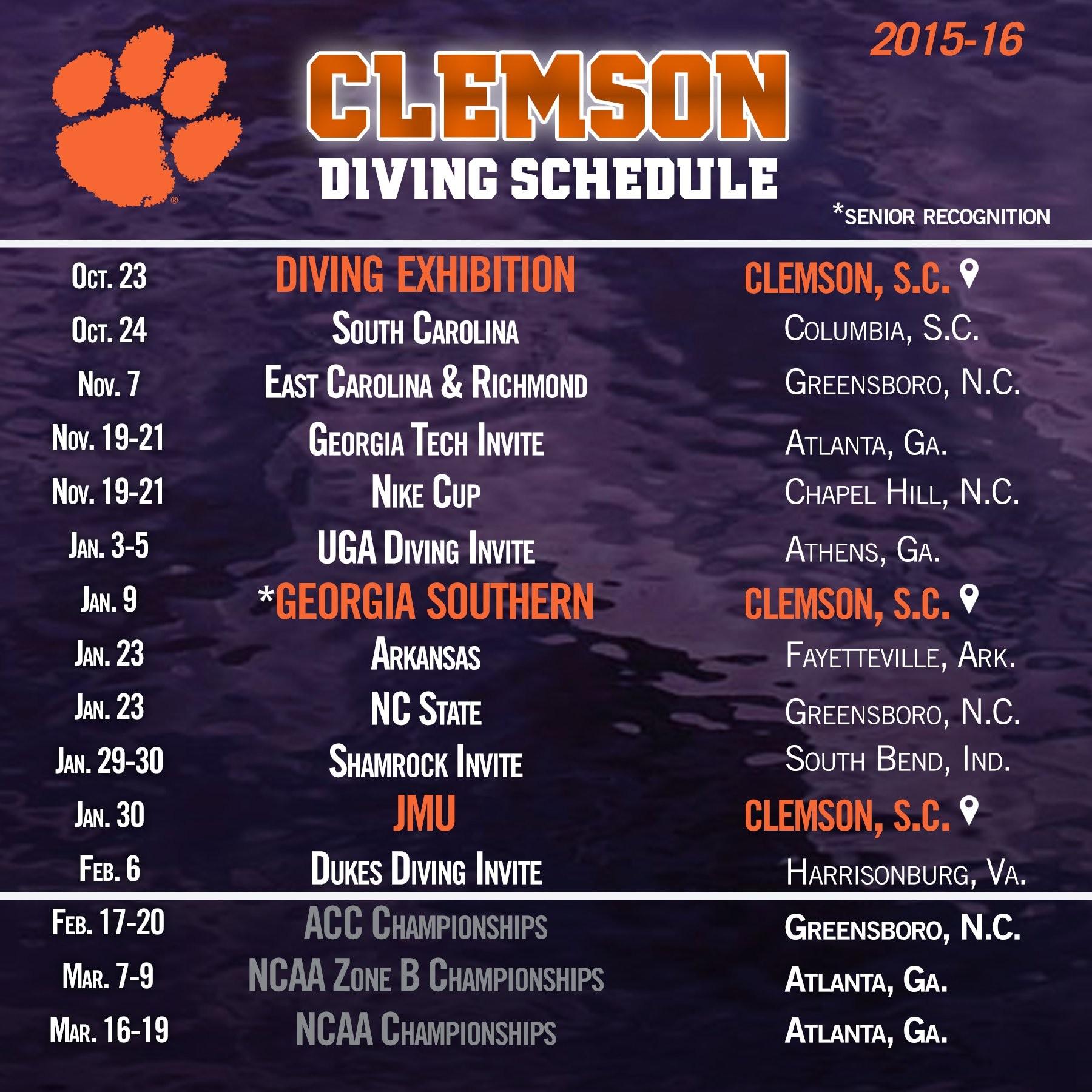 Clemson Diving Announces 2015-16 Schedule
