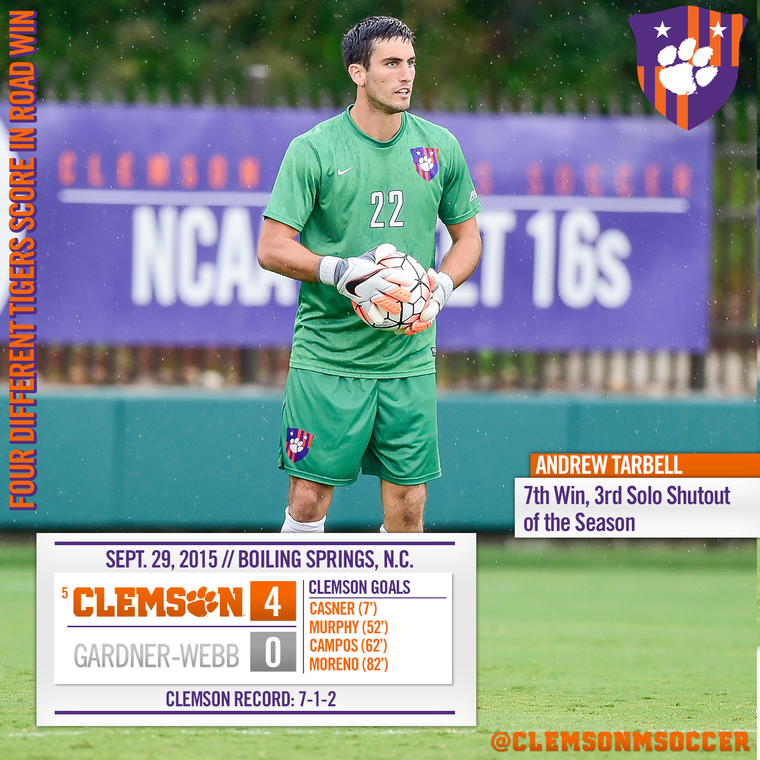 No. 5 Tigers Blank Gardner-Webb on the Road Tuesday