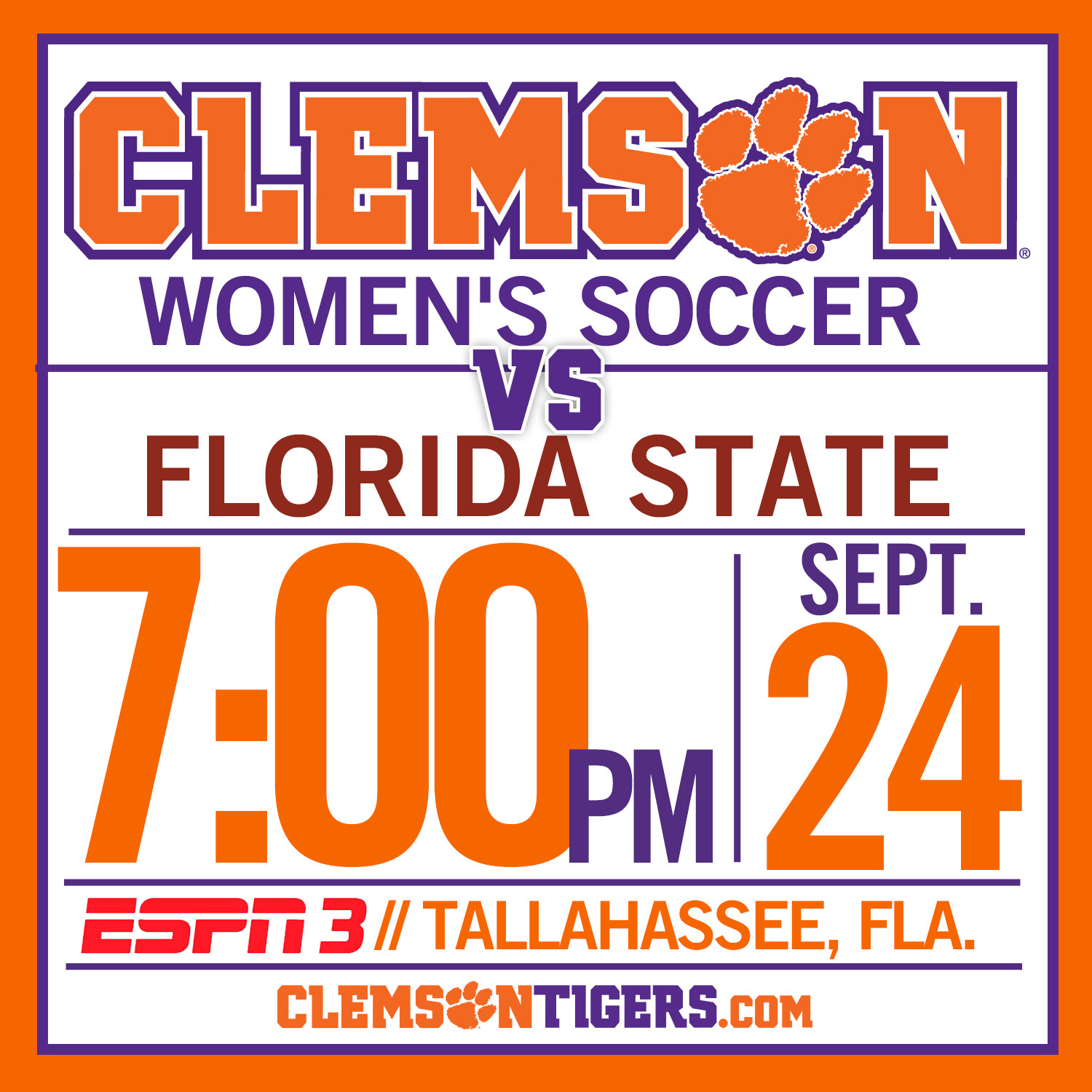 #5 Tigers Take to Road for Match against #3 Florida State