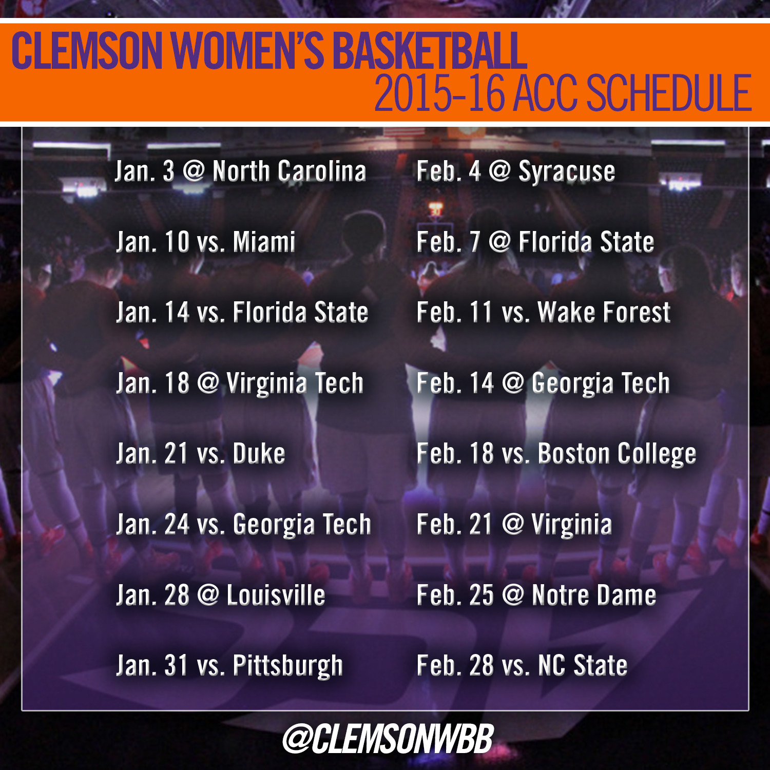 Clemson Women?s Basketball Announces 2015-16 Schedule