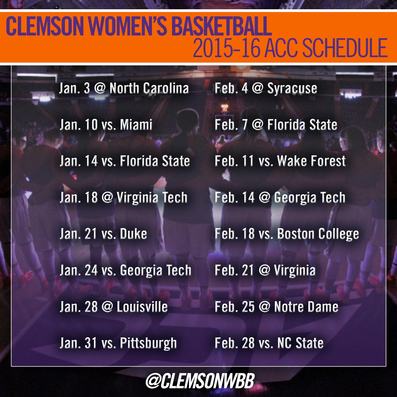 Clemson Women?s Basketball Announces 2015-16 Schedule