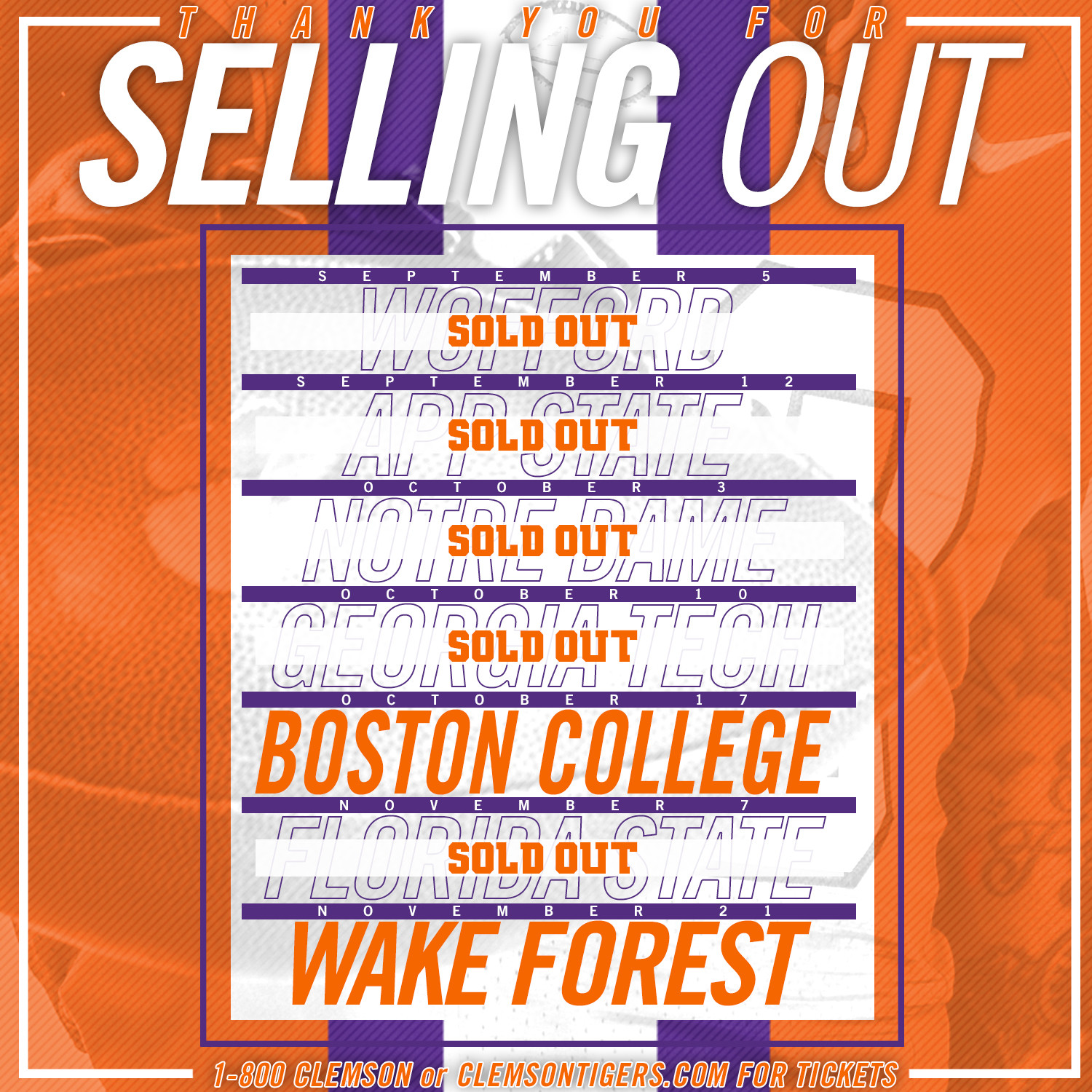 Football Opener Against Wofford SOLD OUT