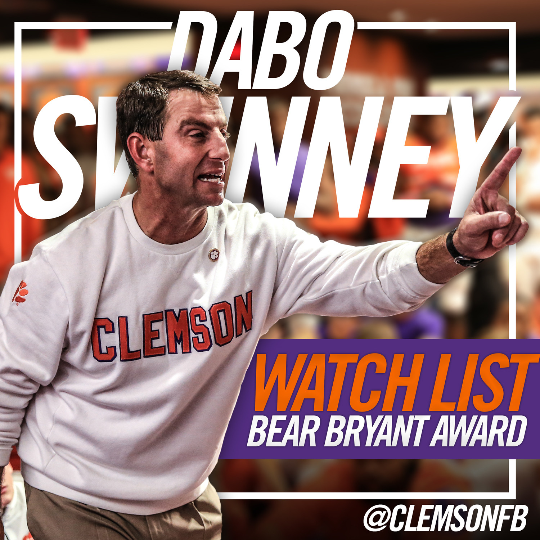Swinney Named to Bryant Award Watch List